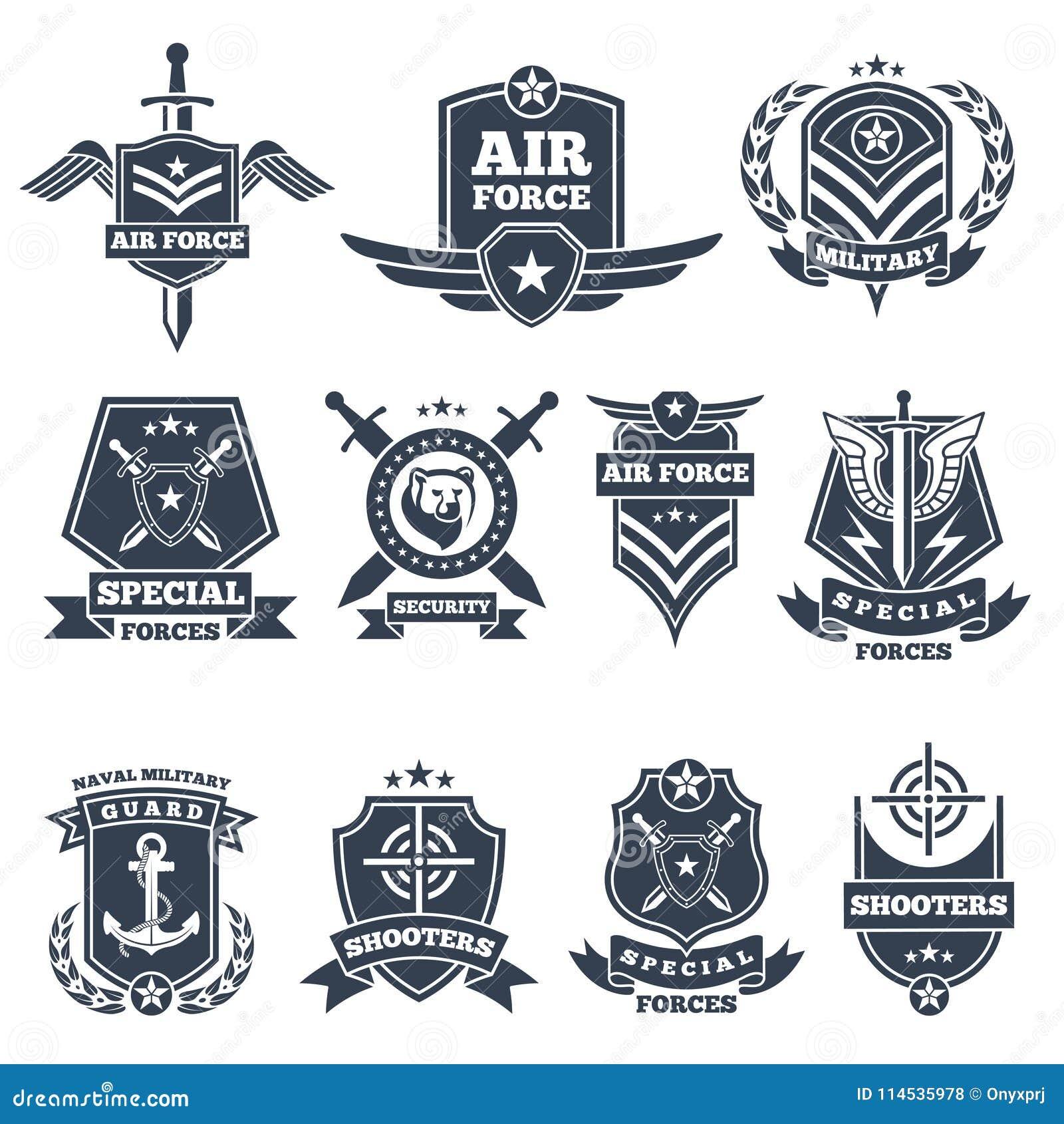 Logos e distintivi militari Simboli dell esercito su fondo bianco