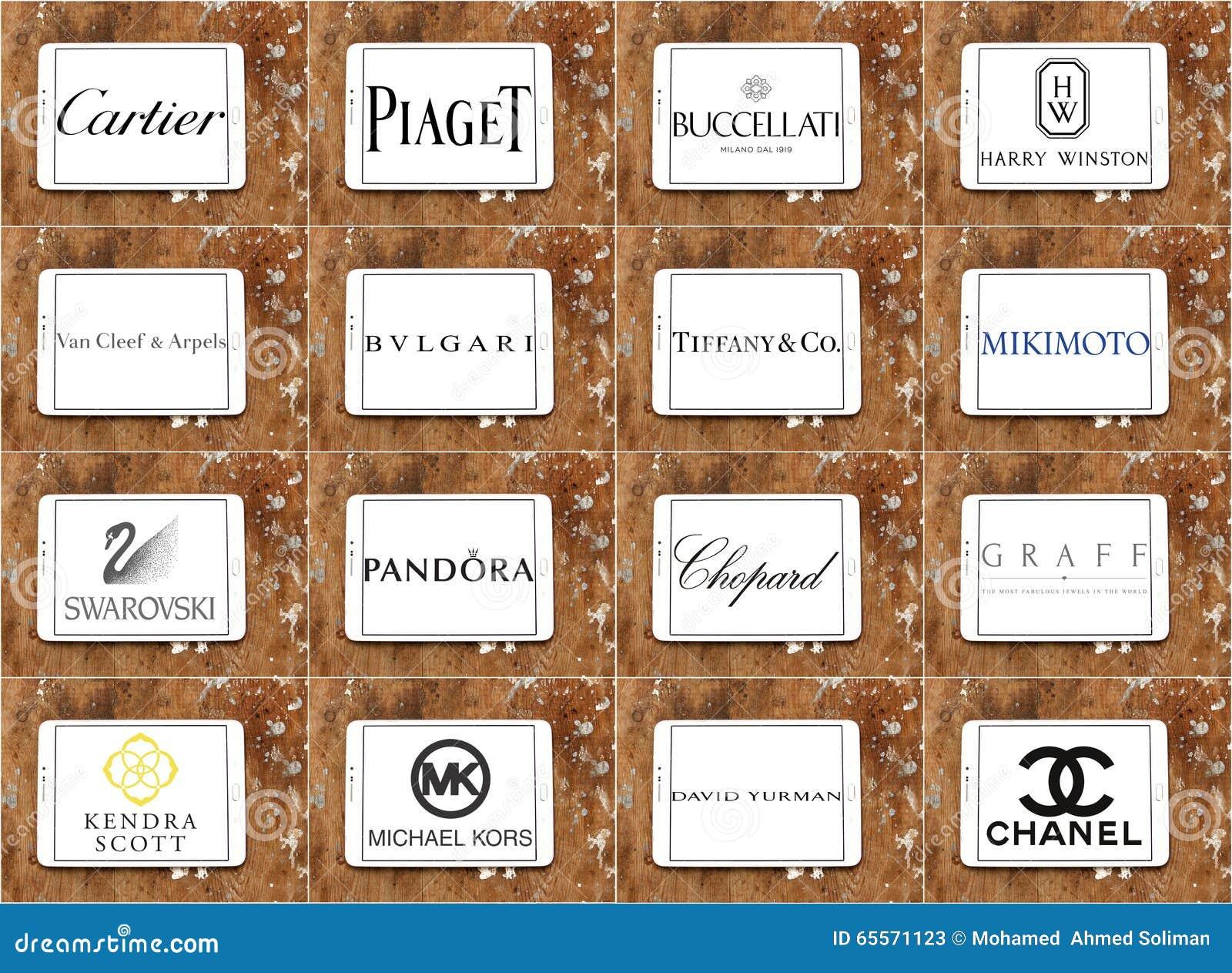 Logos et marques célèbres supérieurs de sociétés de bijoux