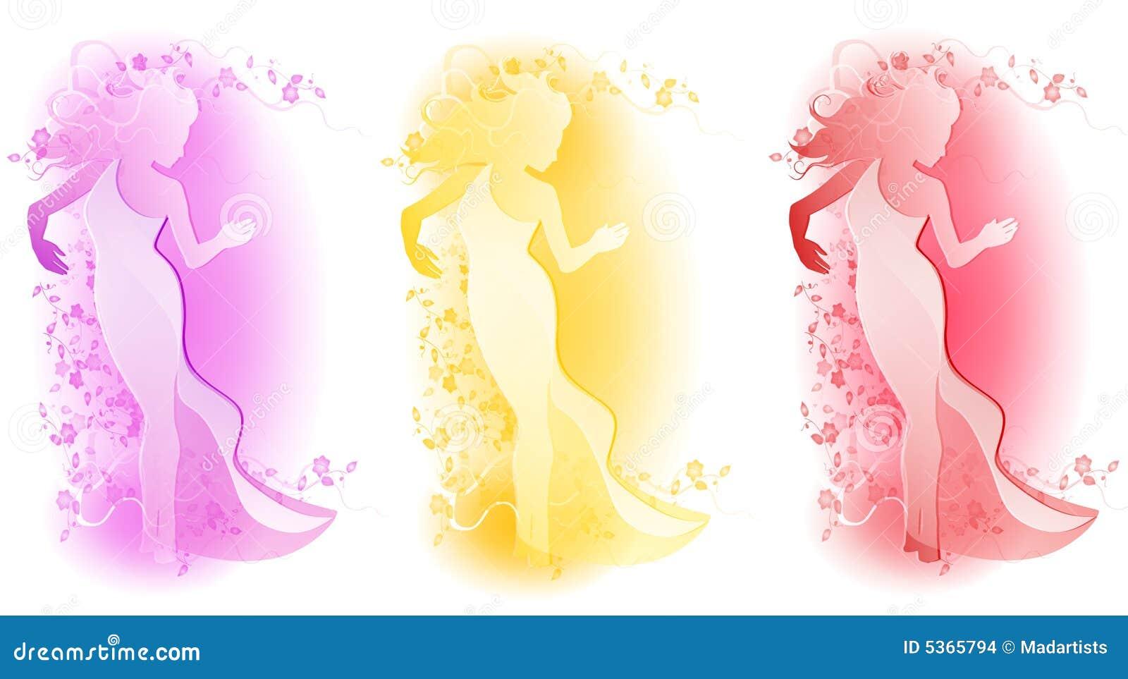 Logos floraux femelles de mode
