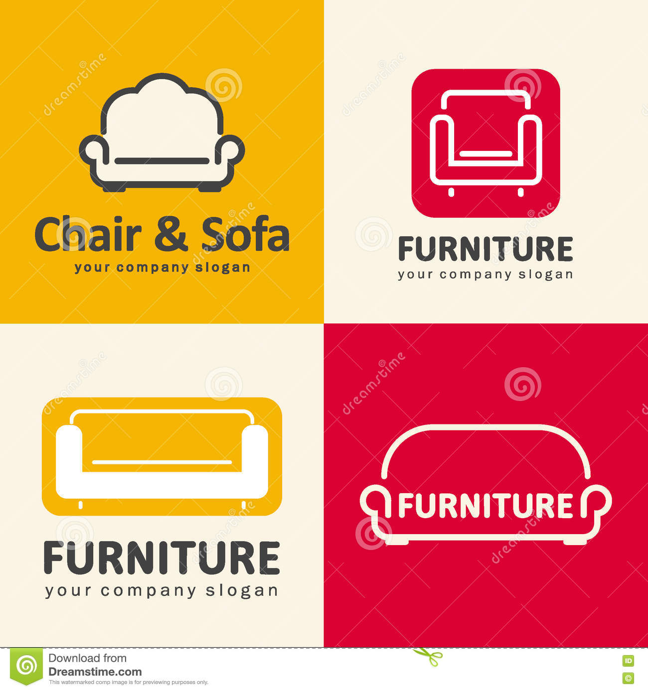 Furniture logo vector free download - Logos For Furniture Store Sofa And Chair Icons