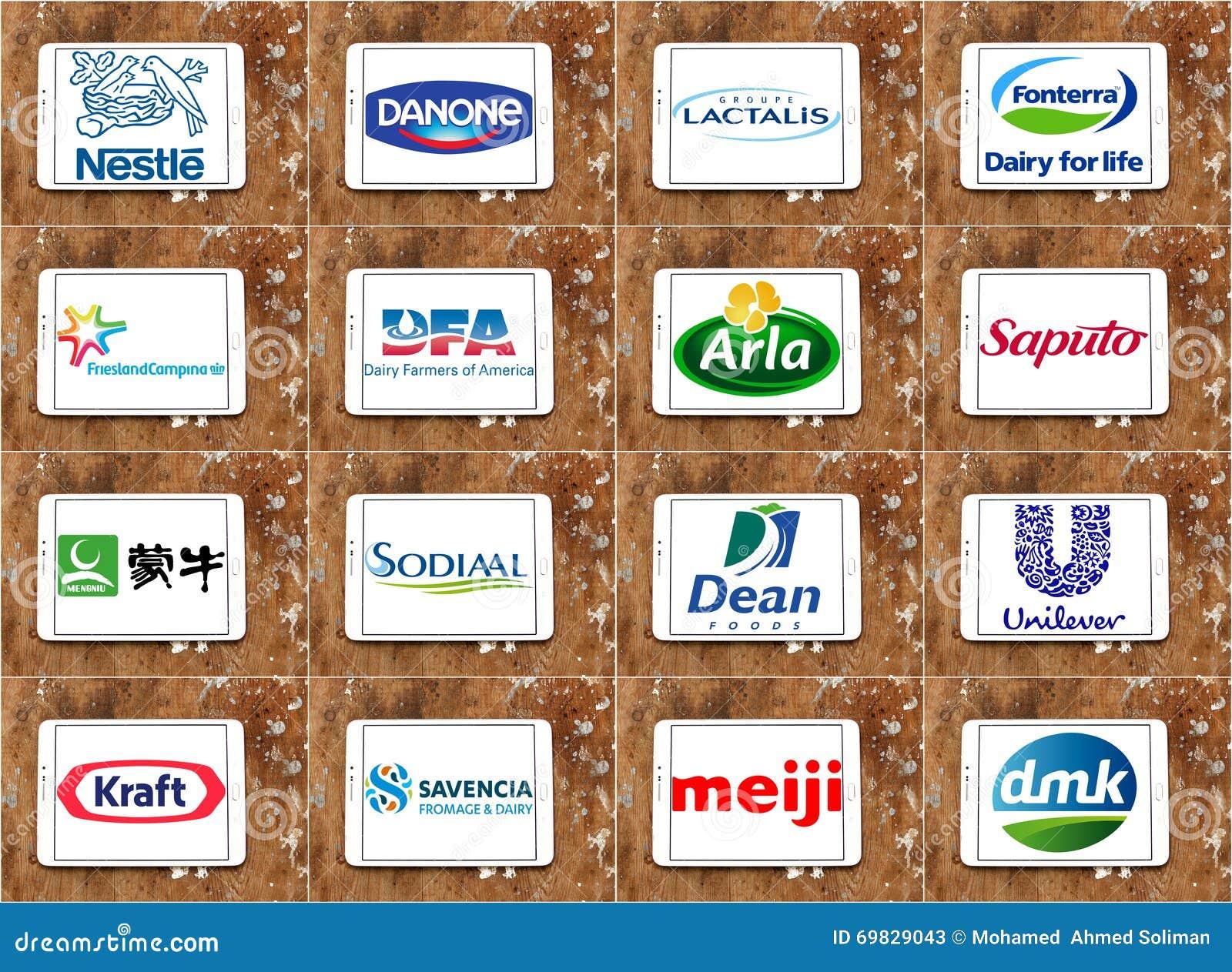 Logos globaux supérieurs de sociétés de laiterie
