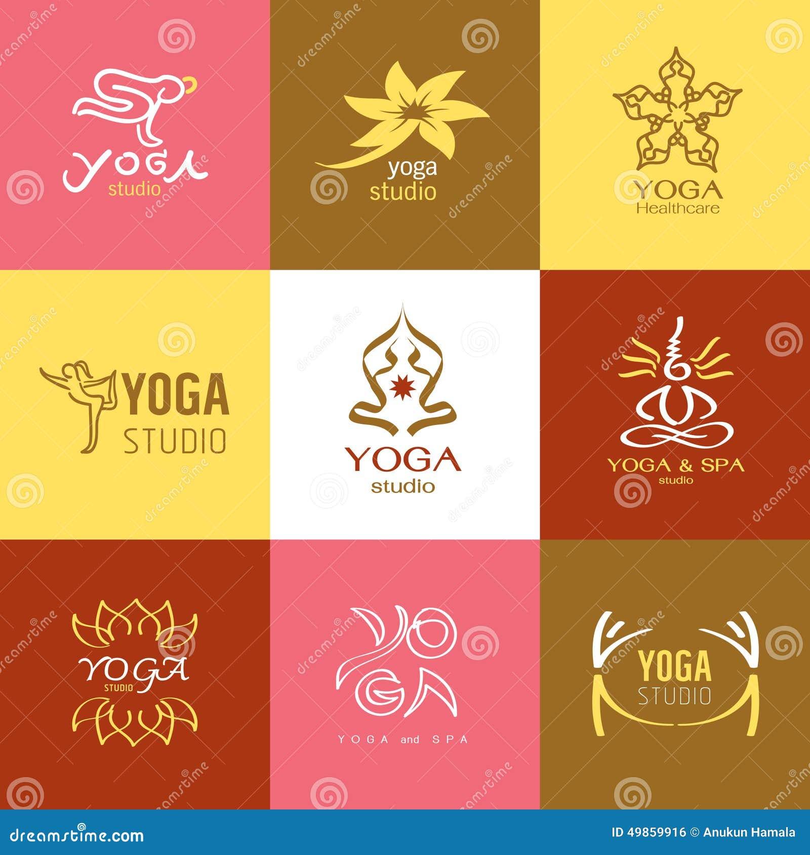Logos And Icons Set For Yoga Studio Or Meditation Class