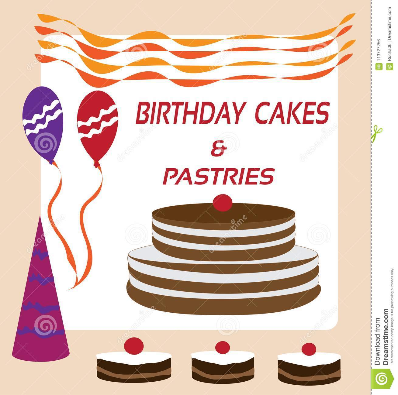Tremendous Birthday Cakes Pastries For Sale Stock Vector Illustration Of Birthday Cards Printable Opercafe Filternl