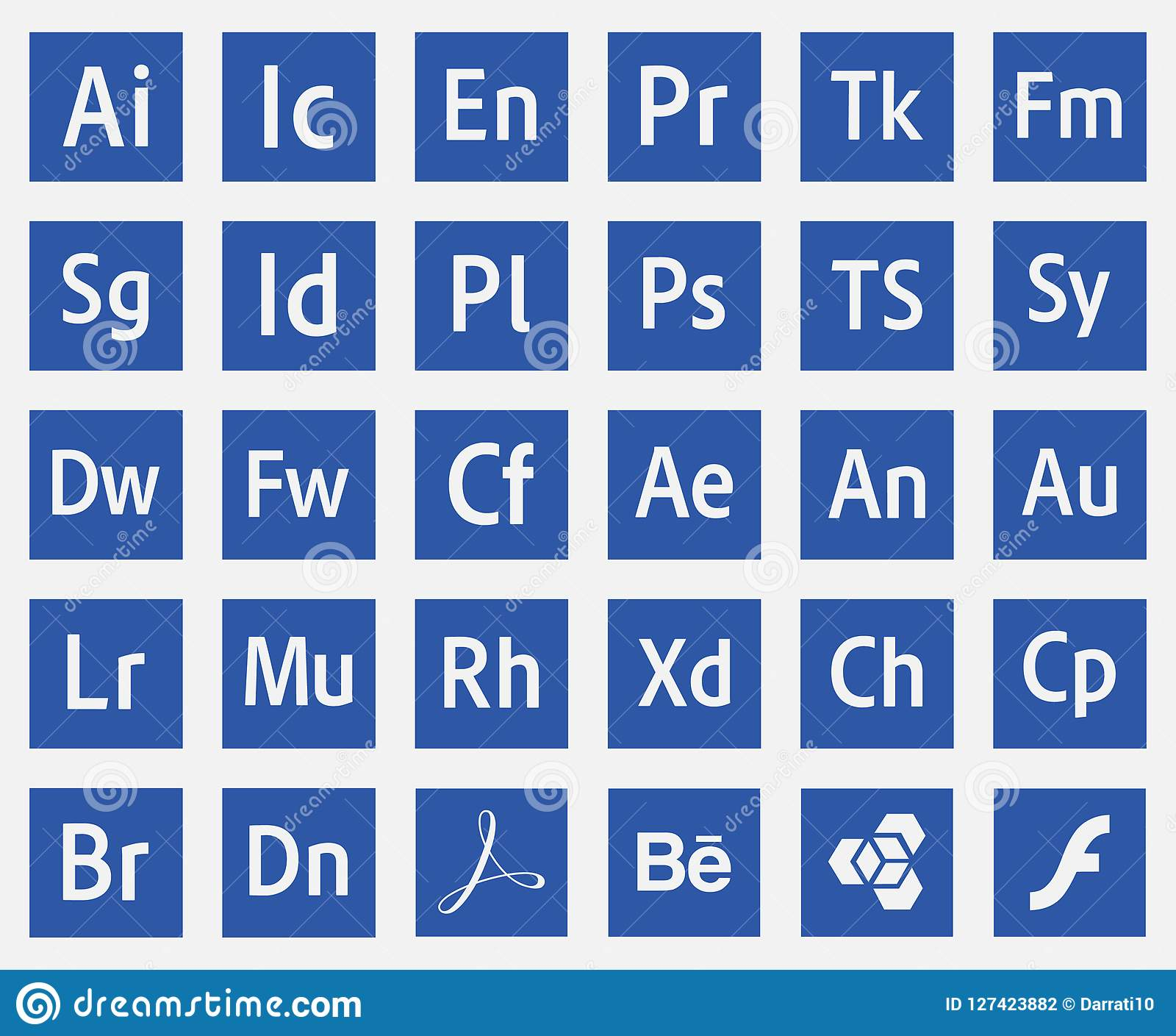 Logos Programs Adobe Icons Vector Eps10 Editorial Photography