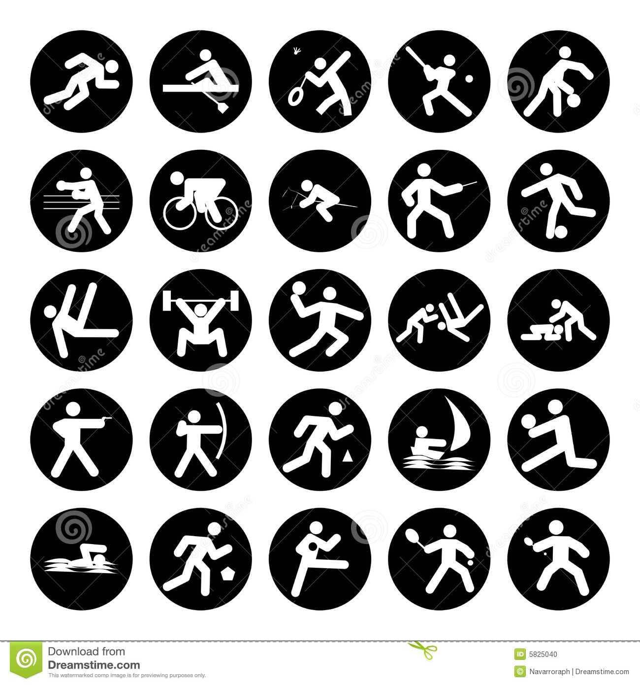 Logos of sports, olympics buttons black on white background.
