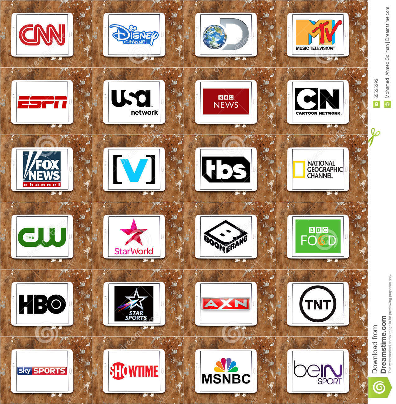 logos of top famous tv channels and networks editorial