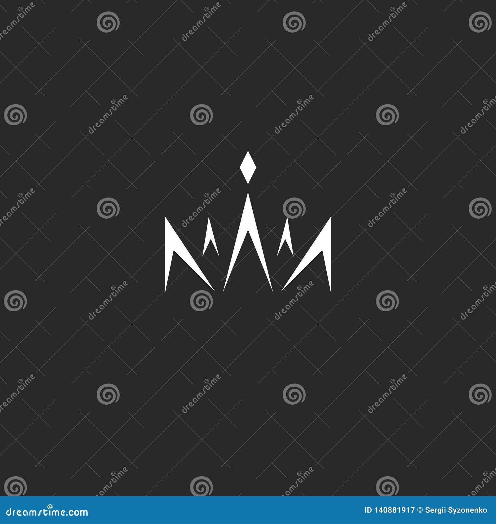 Logotipo abstracto de la corona en el monograma del estilo, las líneas blancos y negros logotipo con la princesa de la gema de la