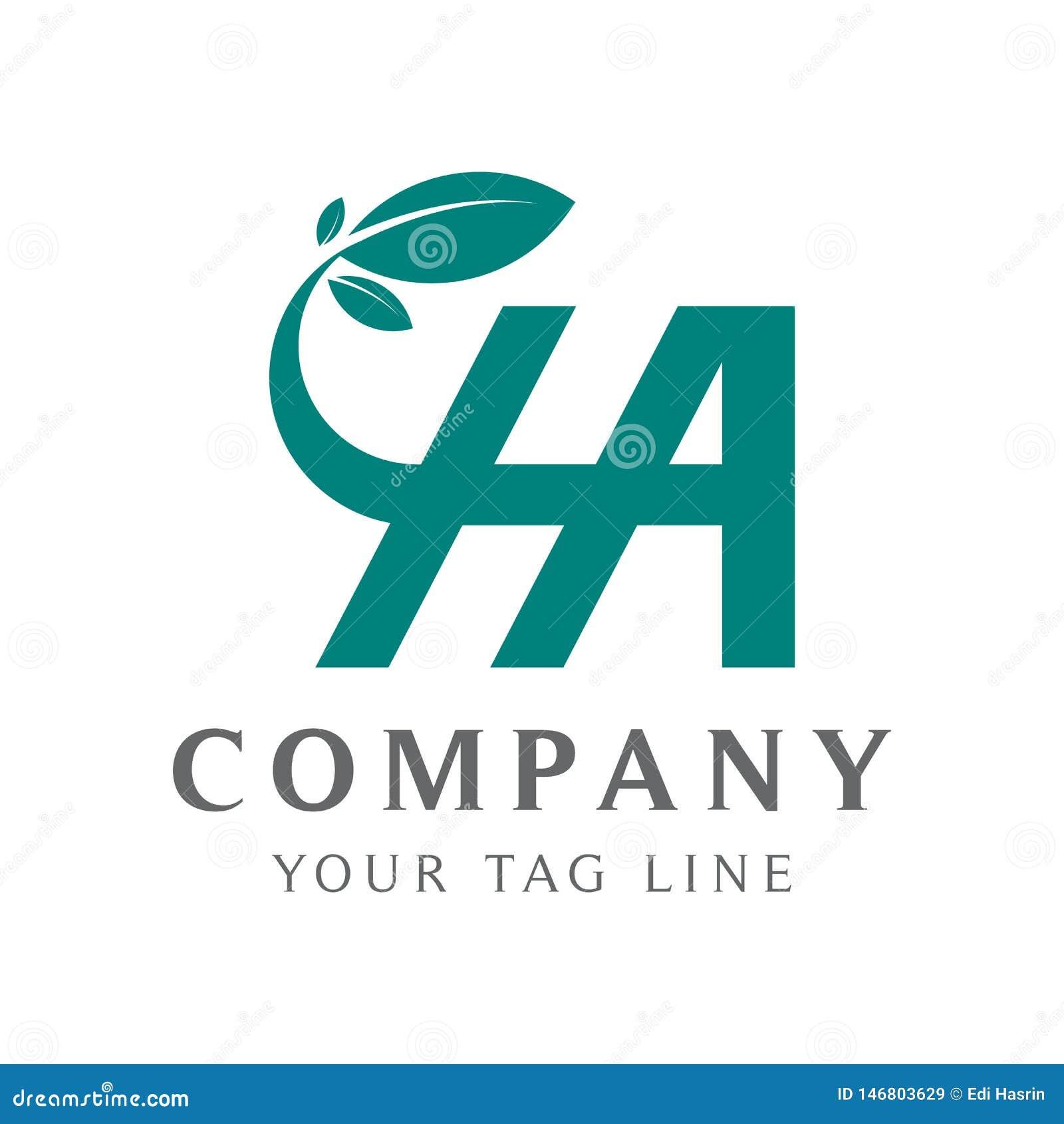 Logotipo abstracto de la ha, con las hojas A de las gradaciones de color, de la conexión y H