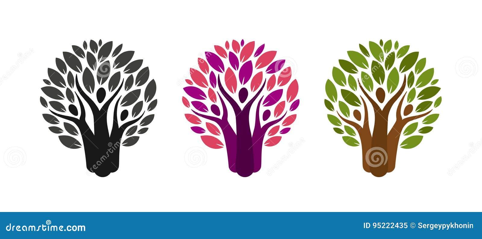 Logotipo abstracto del árbol y de la gente Ecología, ambiente, etiqueta de la naturaleza o icono Ilustración del vector