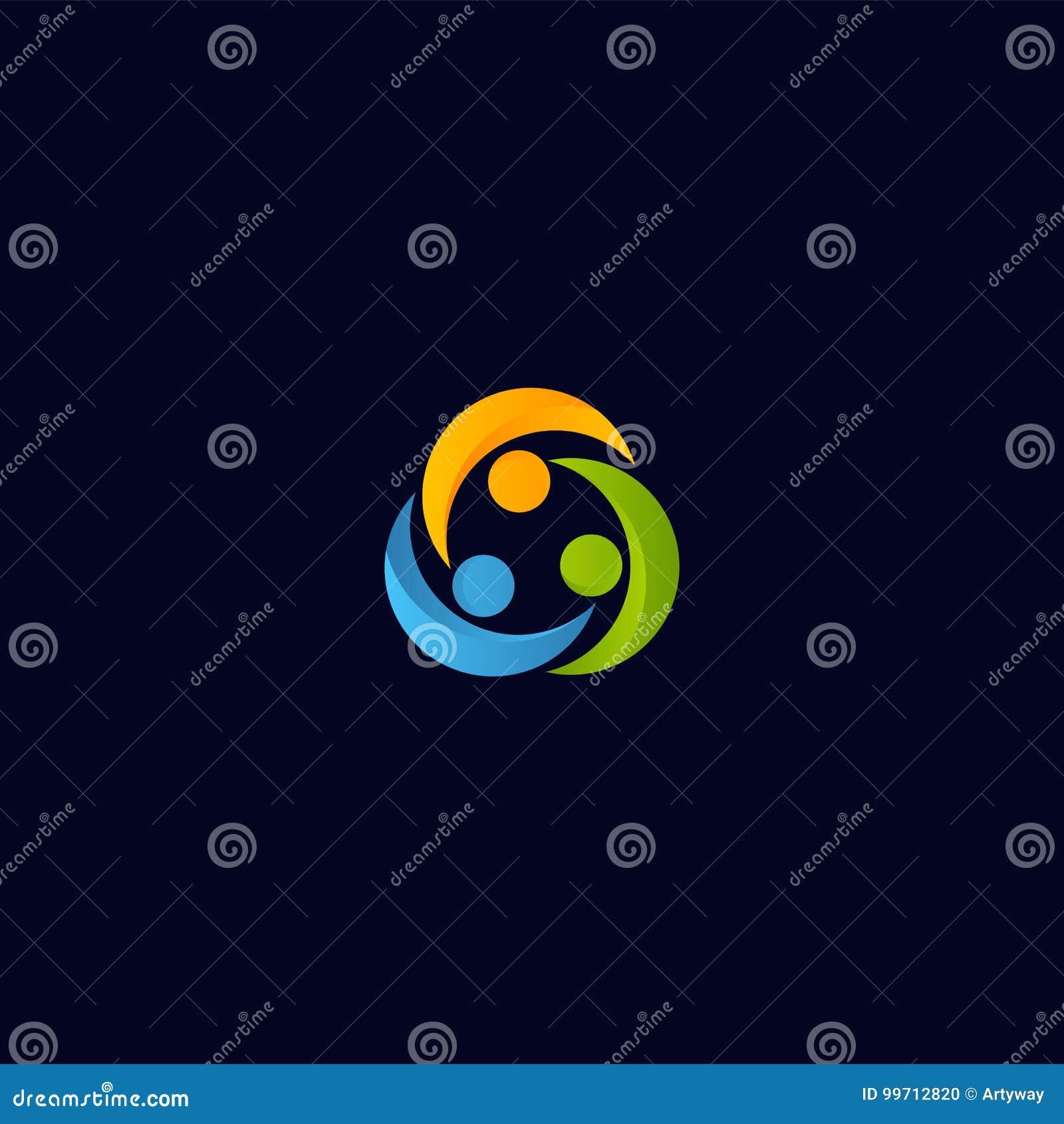 Logotipo abstracto del vector de la gente de la unión Plantilla aislada colaboración del icono de los seres humanos Logotipo colo
