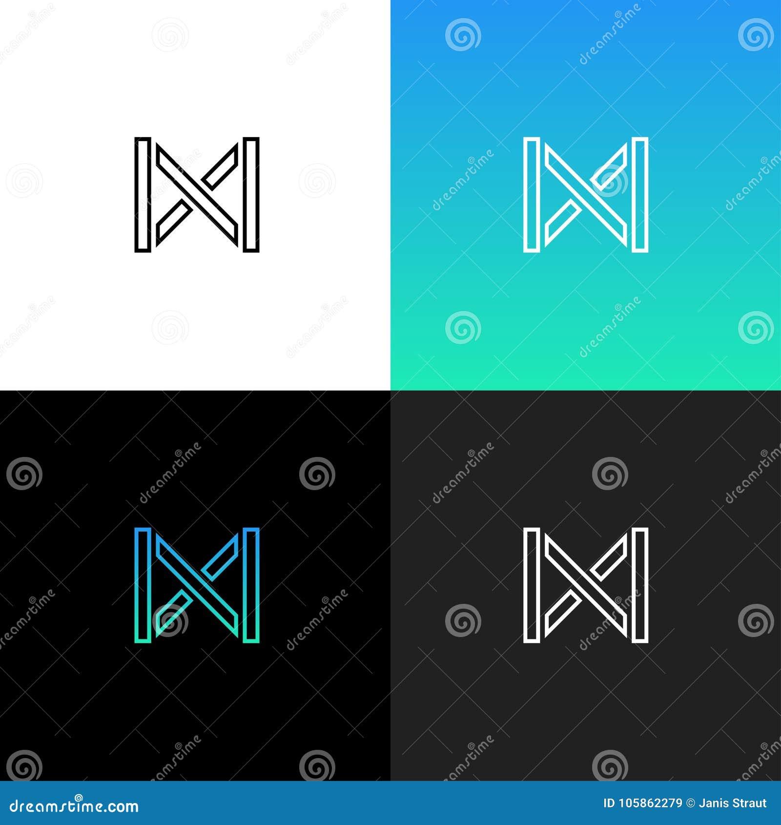 Logotipo abstracto linear de la letra M