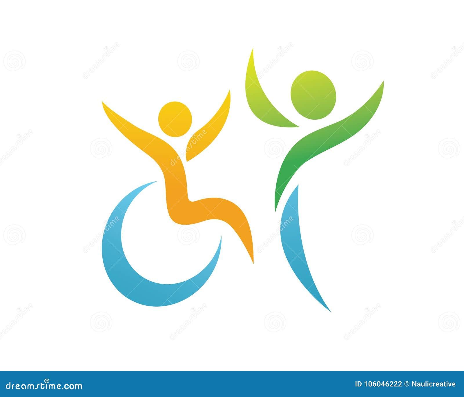 Logotipo apaixonado moderno do apoio dos povos da inabilidade