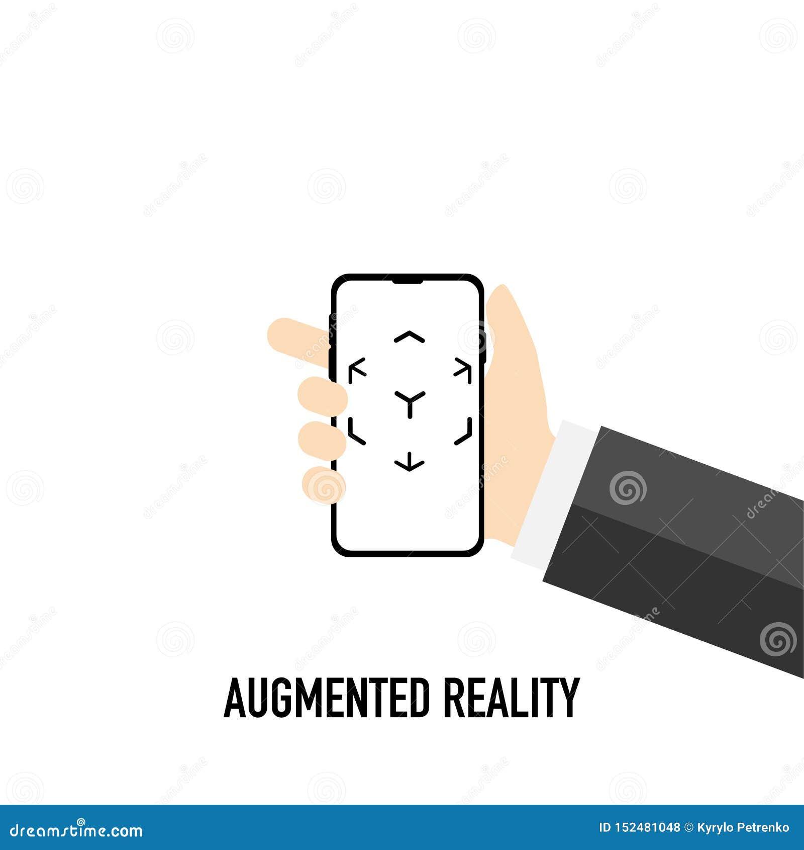 Logotipo aumentado de la realidad virtual blanco y negro