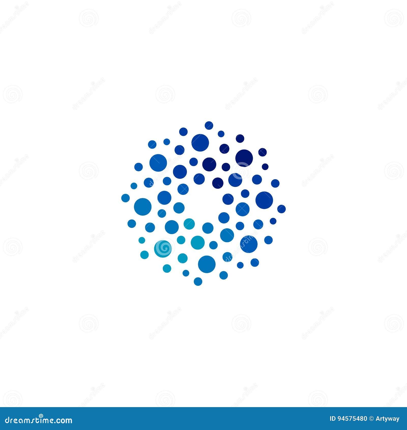 Logotipo azul abstrato isolado da cor da forma redonda, logotype pontilhado, ilustração do vetor do elemento da água no fundo bra