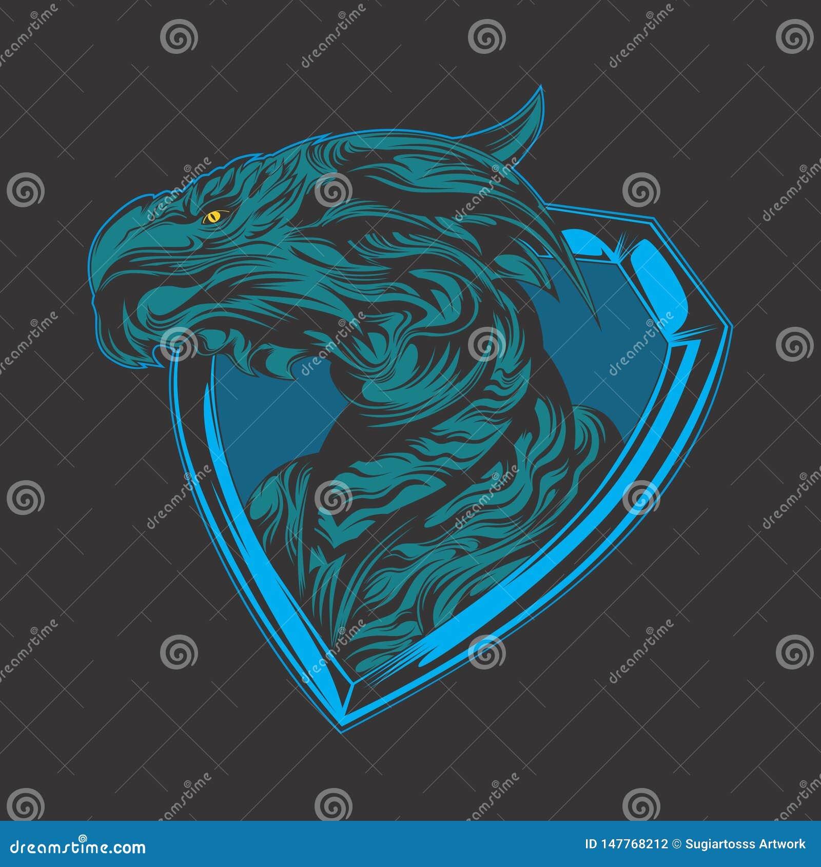 Logotipo azul del drag?n