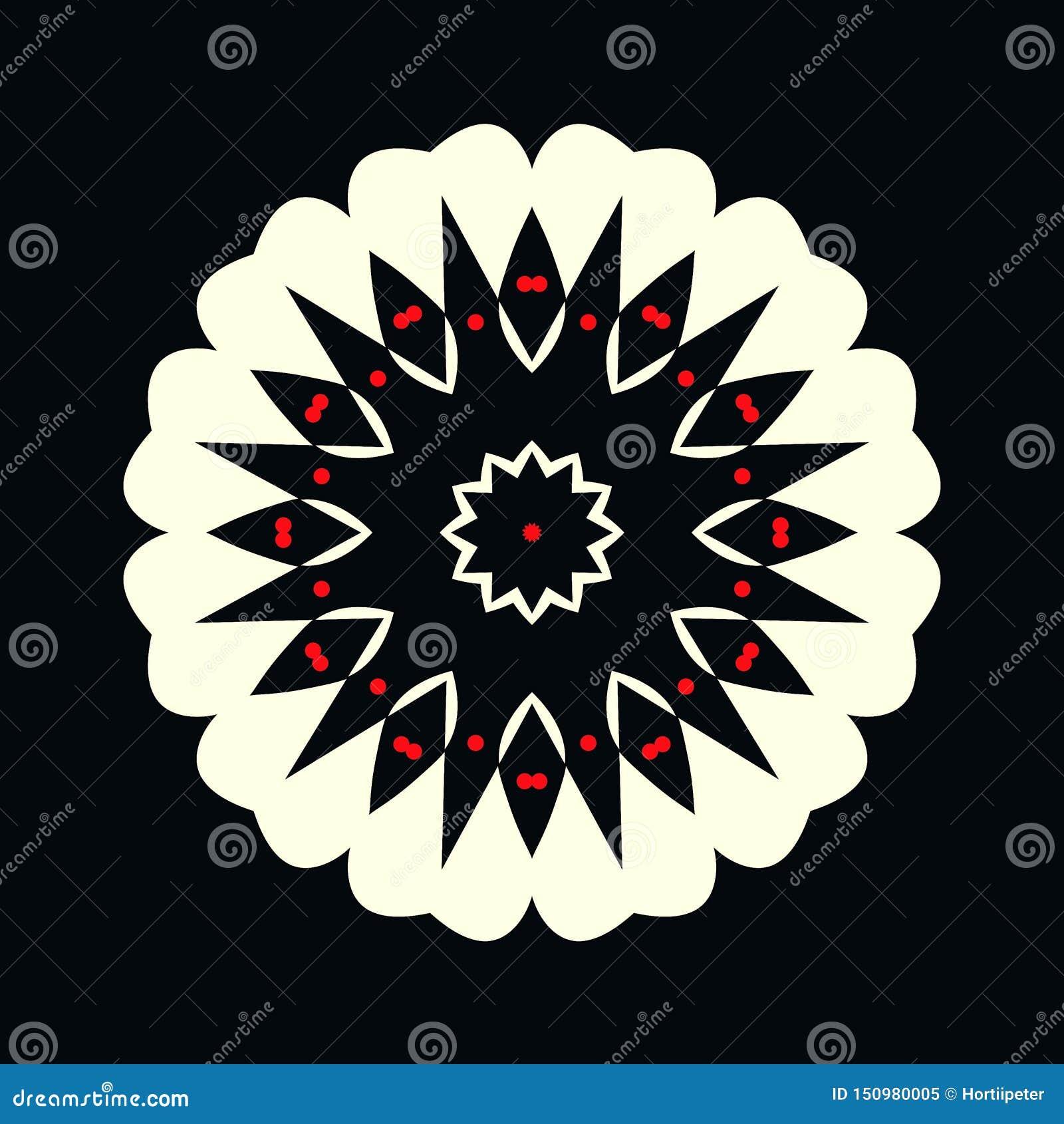 Logotipo blanco y negro decorativo con los puntos rojos en la forma de una flor