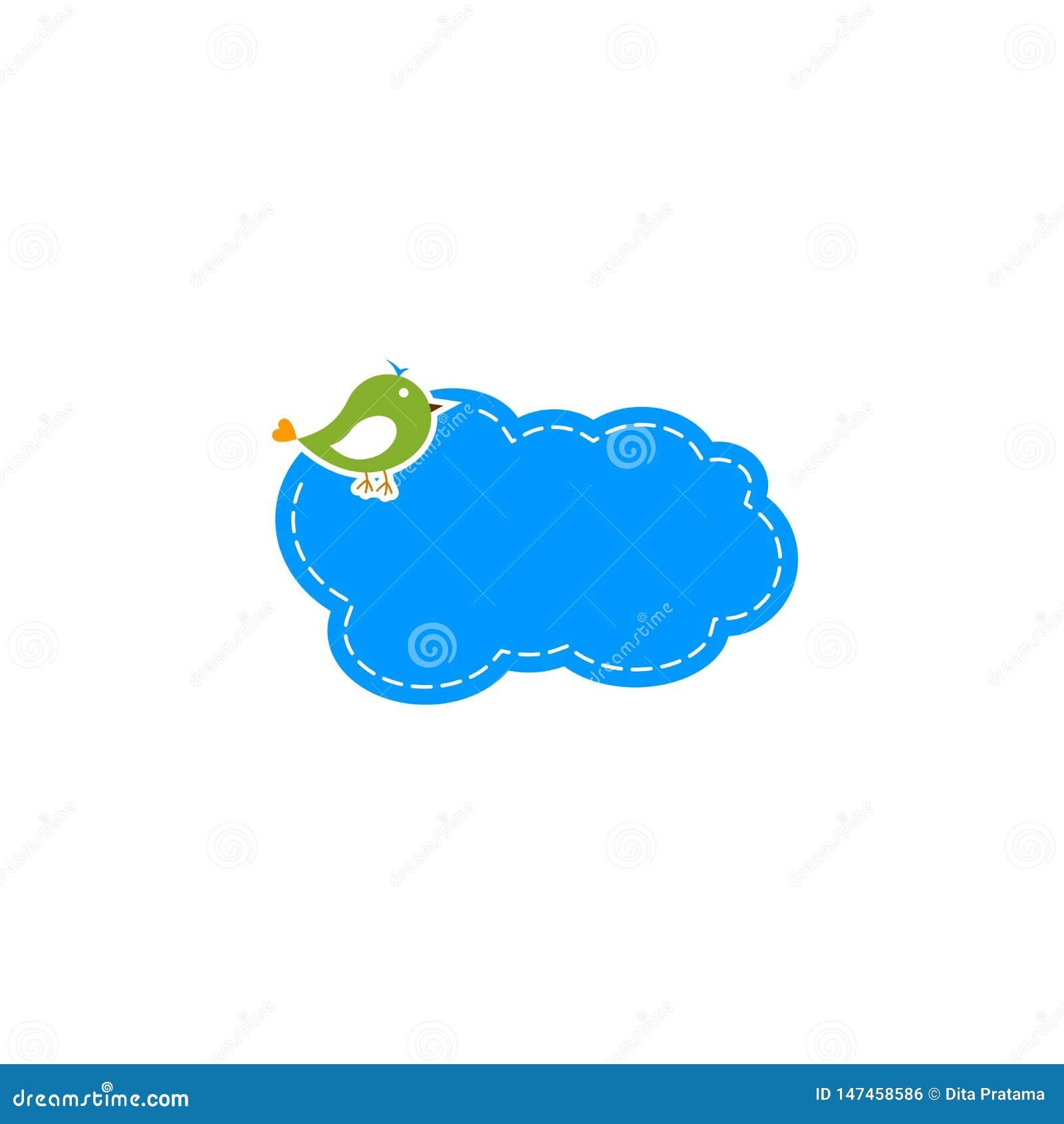Logotipo bonito da nuvem do pássaro