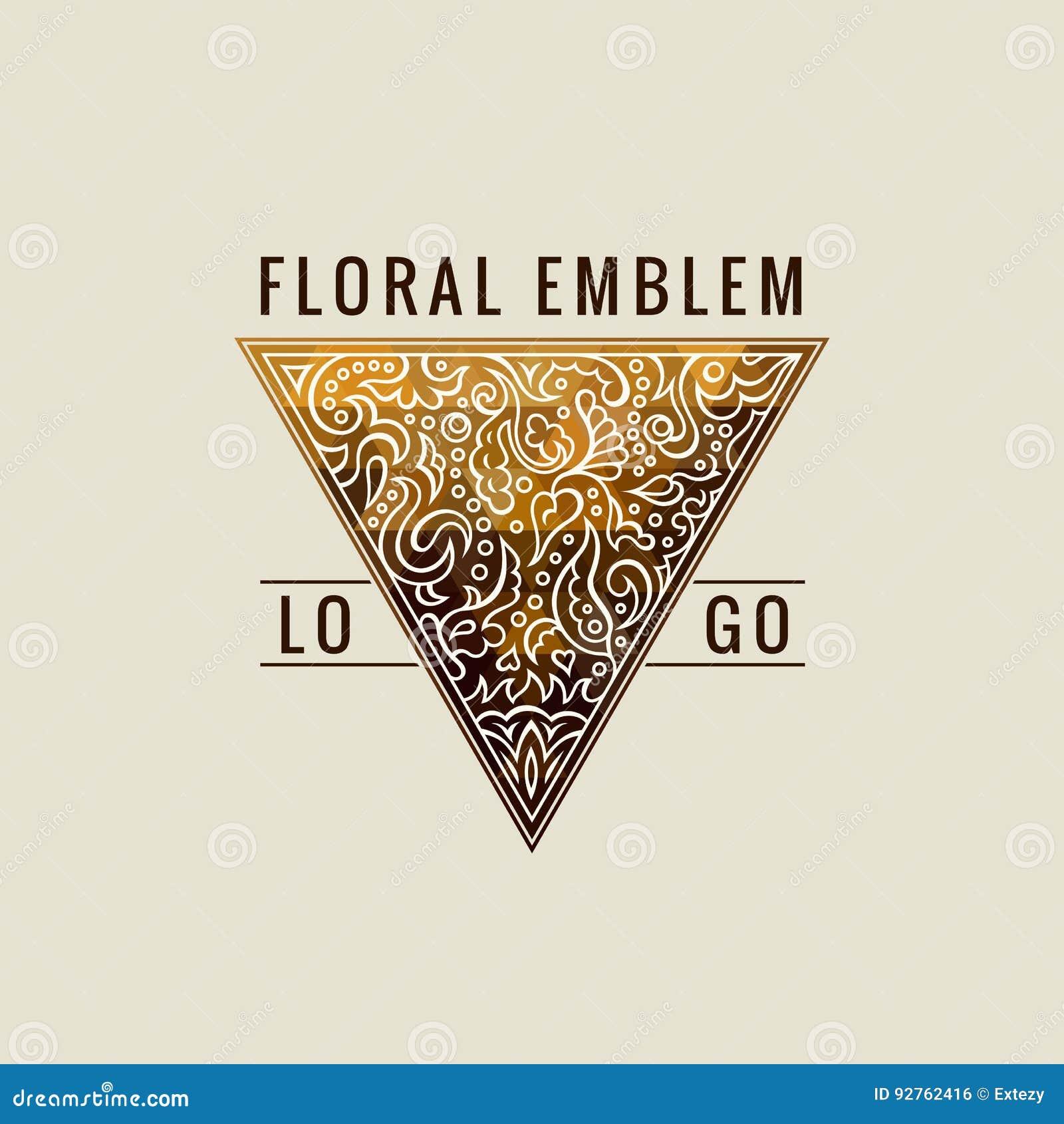 Logotipo caligráfico do triângulo Linhas ornamento do ouro da etiqueta Do vintage luxuoso do emblema do restaurante projeto de ca
