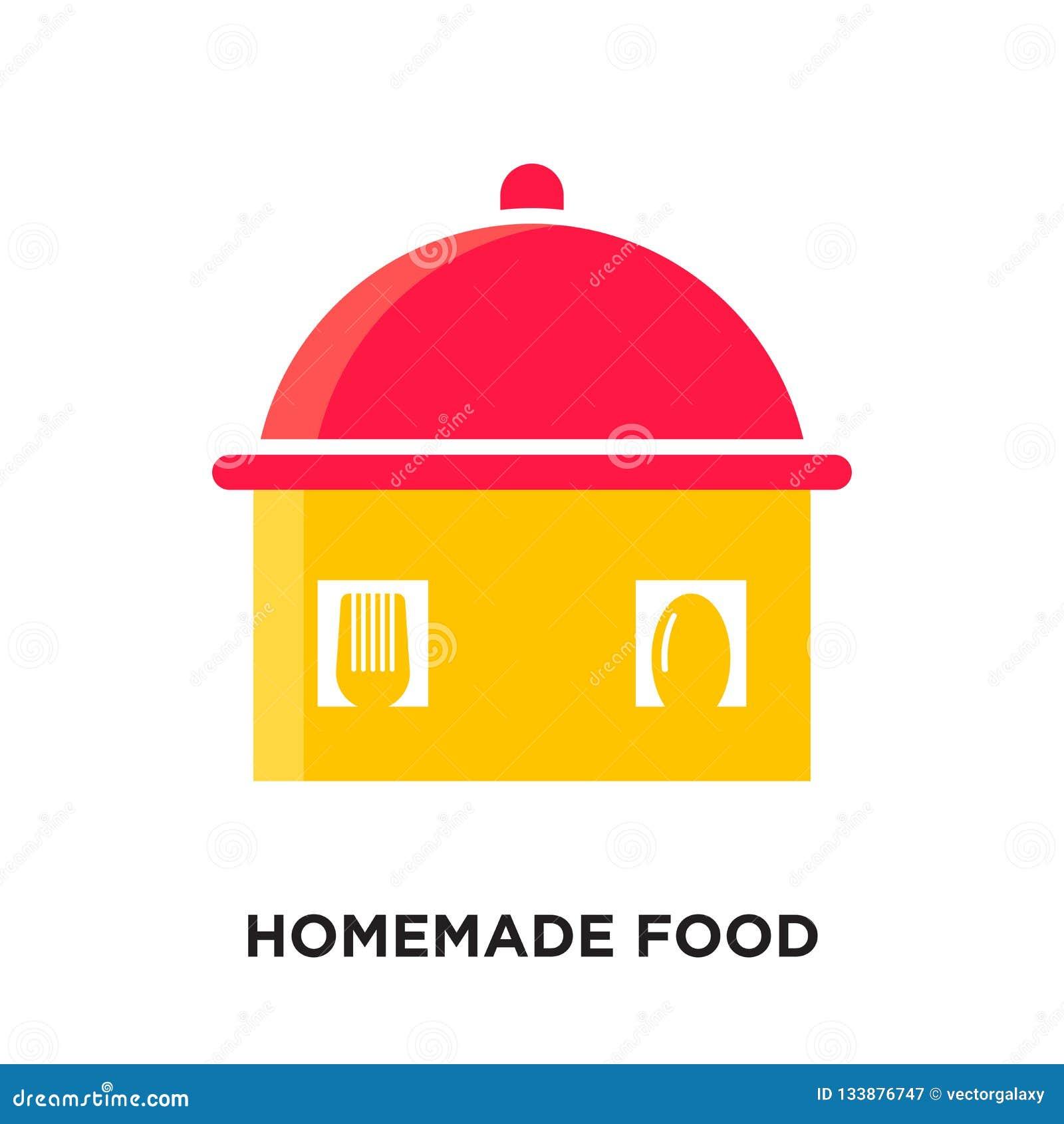 Logotipo caseiro do alimento isolado no fundo branco para sua Web, mo