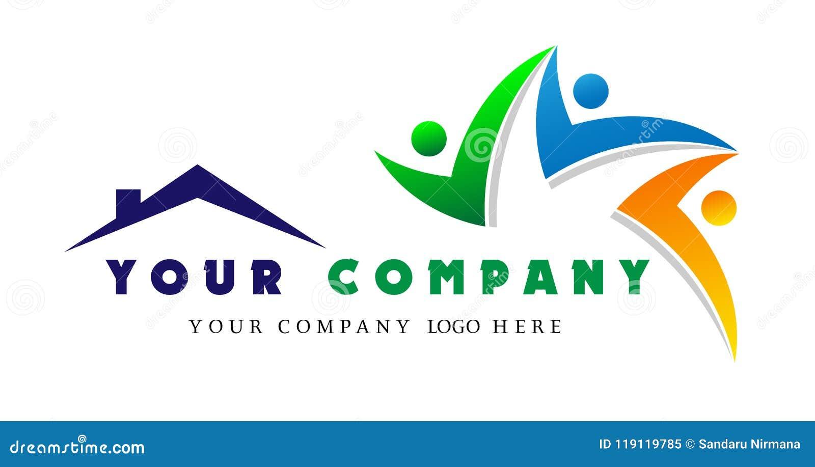 Logotipo casero de la gente junto, unión de la gente en el logotipo del equipo de la casa, concepto del trabajo de grupo para el