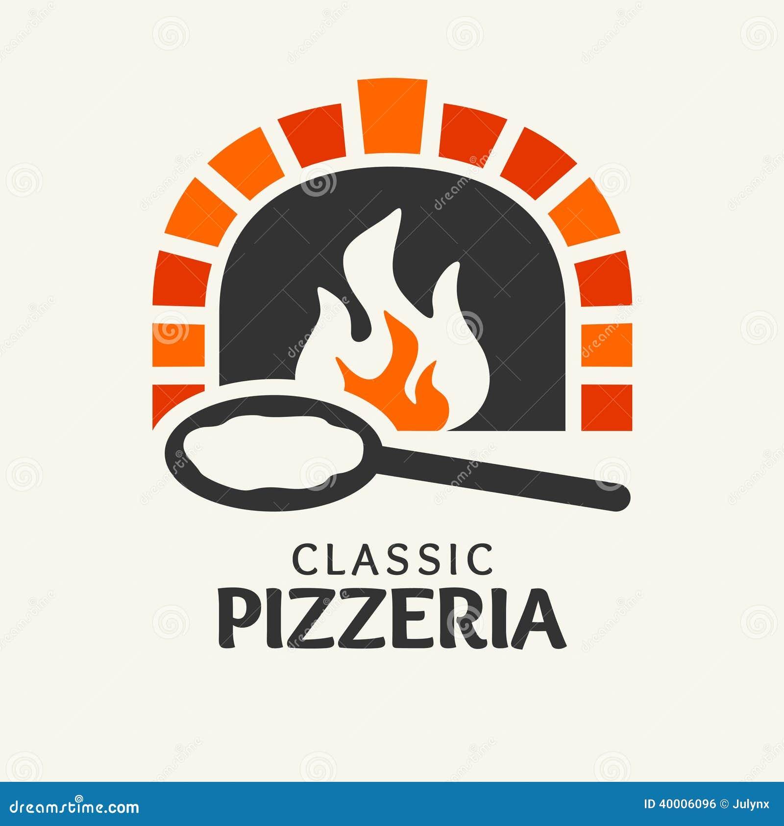 Logotipo cl sico de la pizzer a ilustraci n del vector for Pala horno pizza