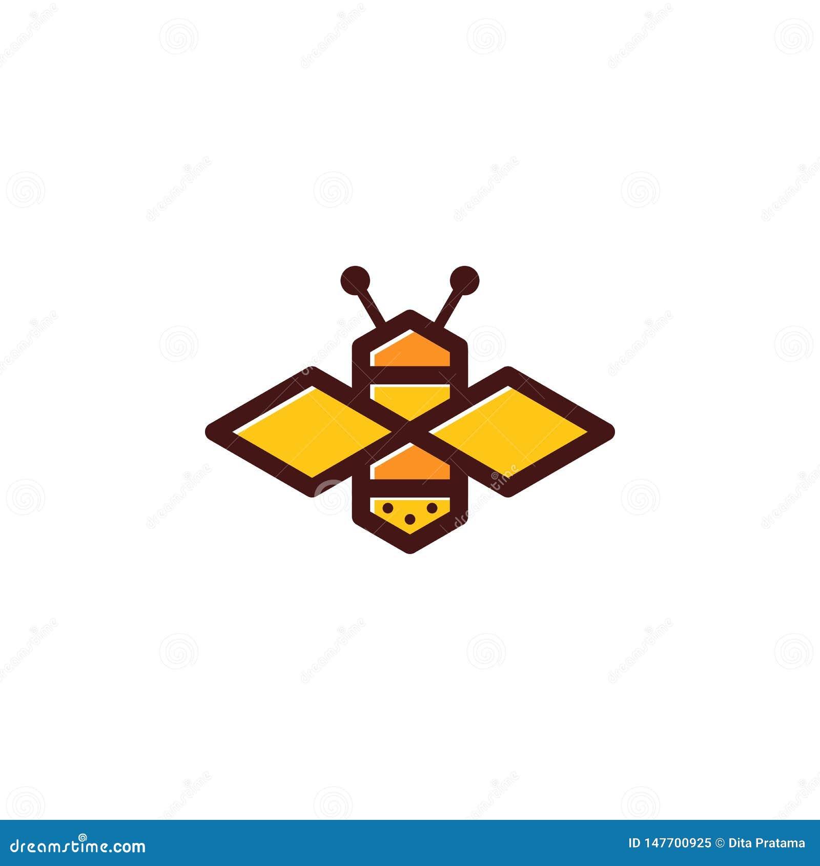 Logotipo coloreado abeja simple