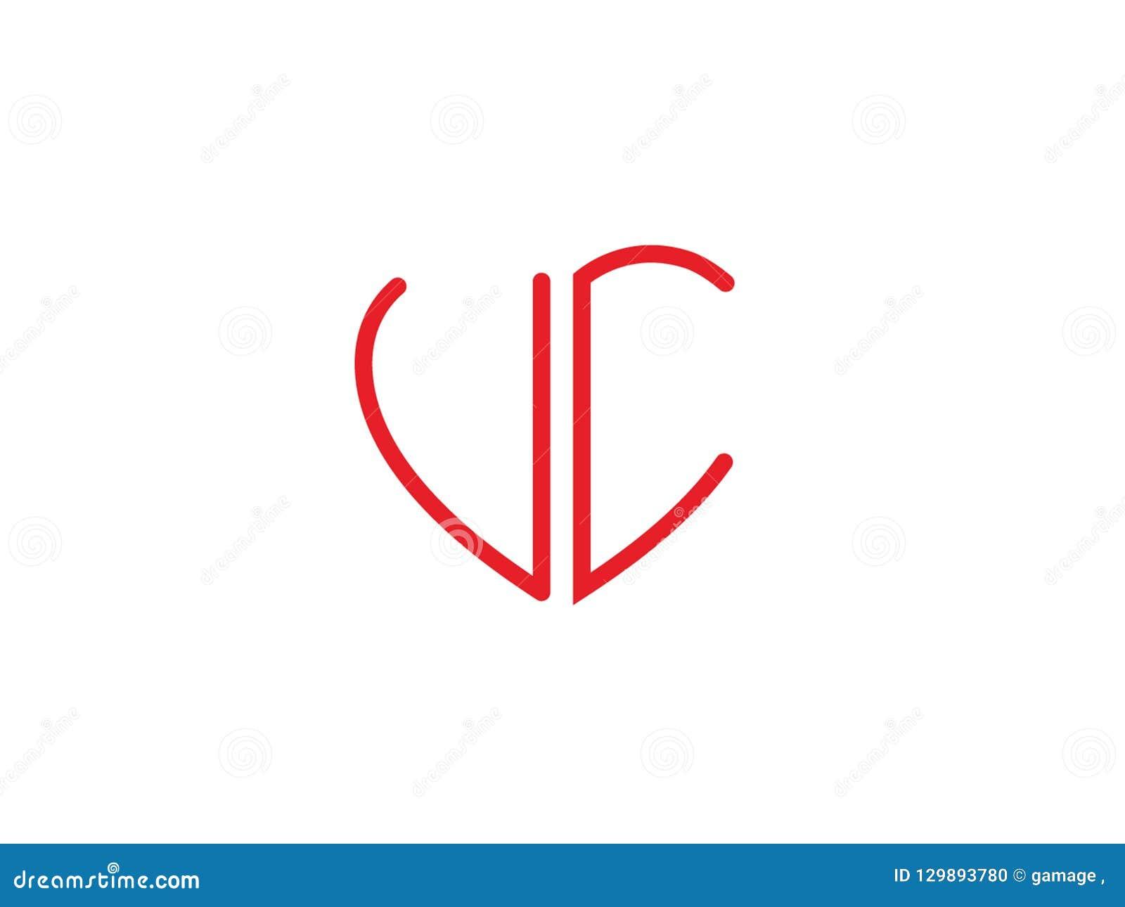 Logotipo coloreado rojo del amor de la forma inicial del corazón del UC