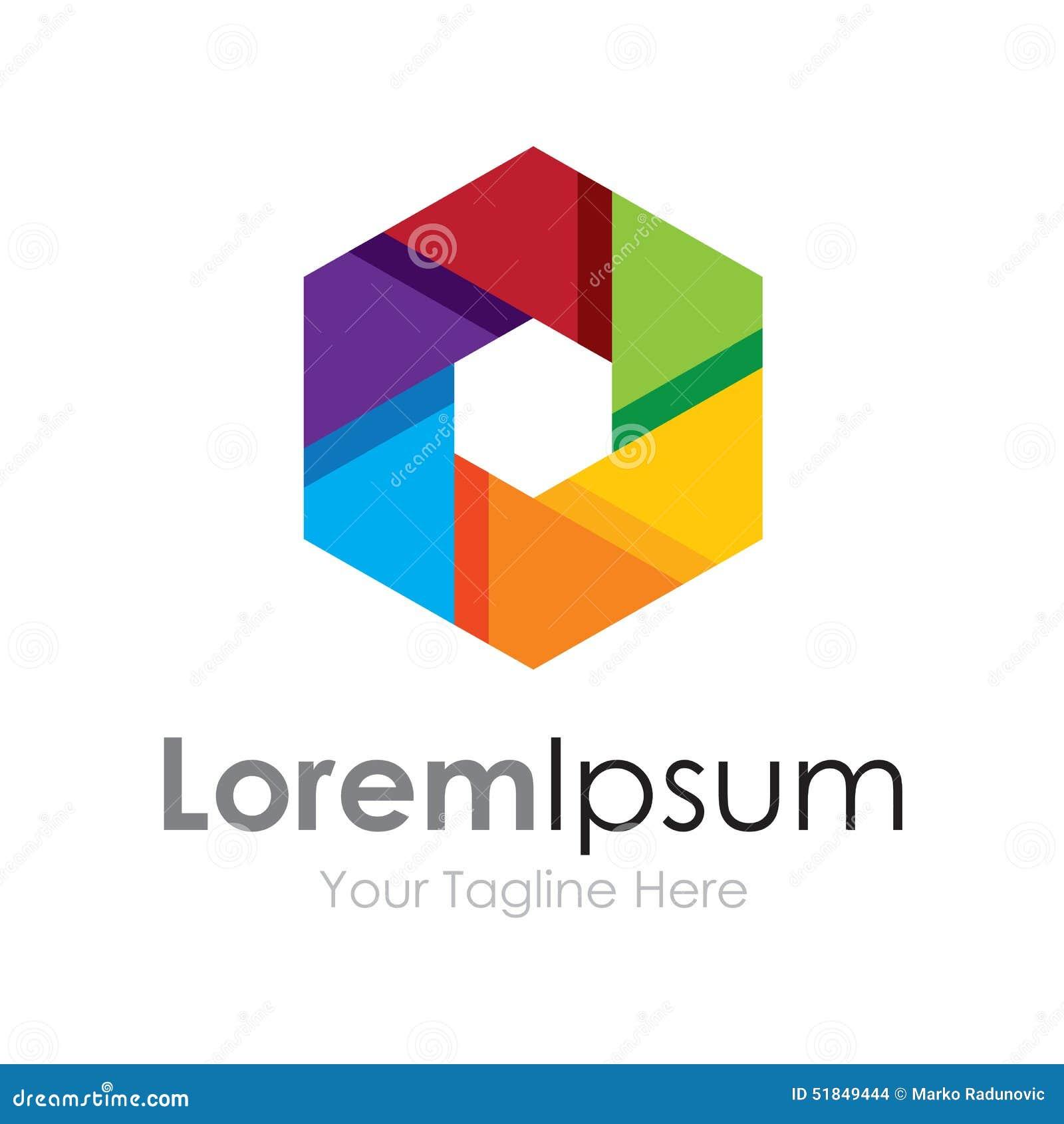 Logotipo colorido do ícone dos elementos do conceito da lente do foco da câmera da visão