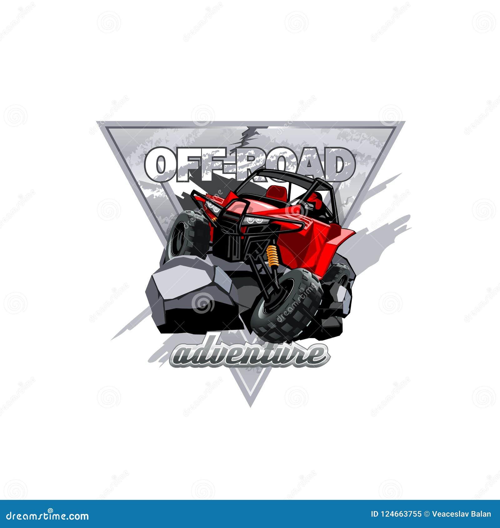 Logotipo con errores campo a través de ATV, aventura en las montañas