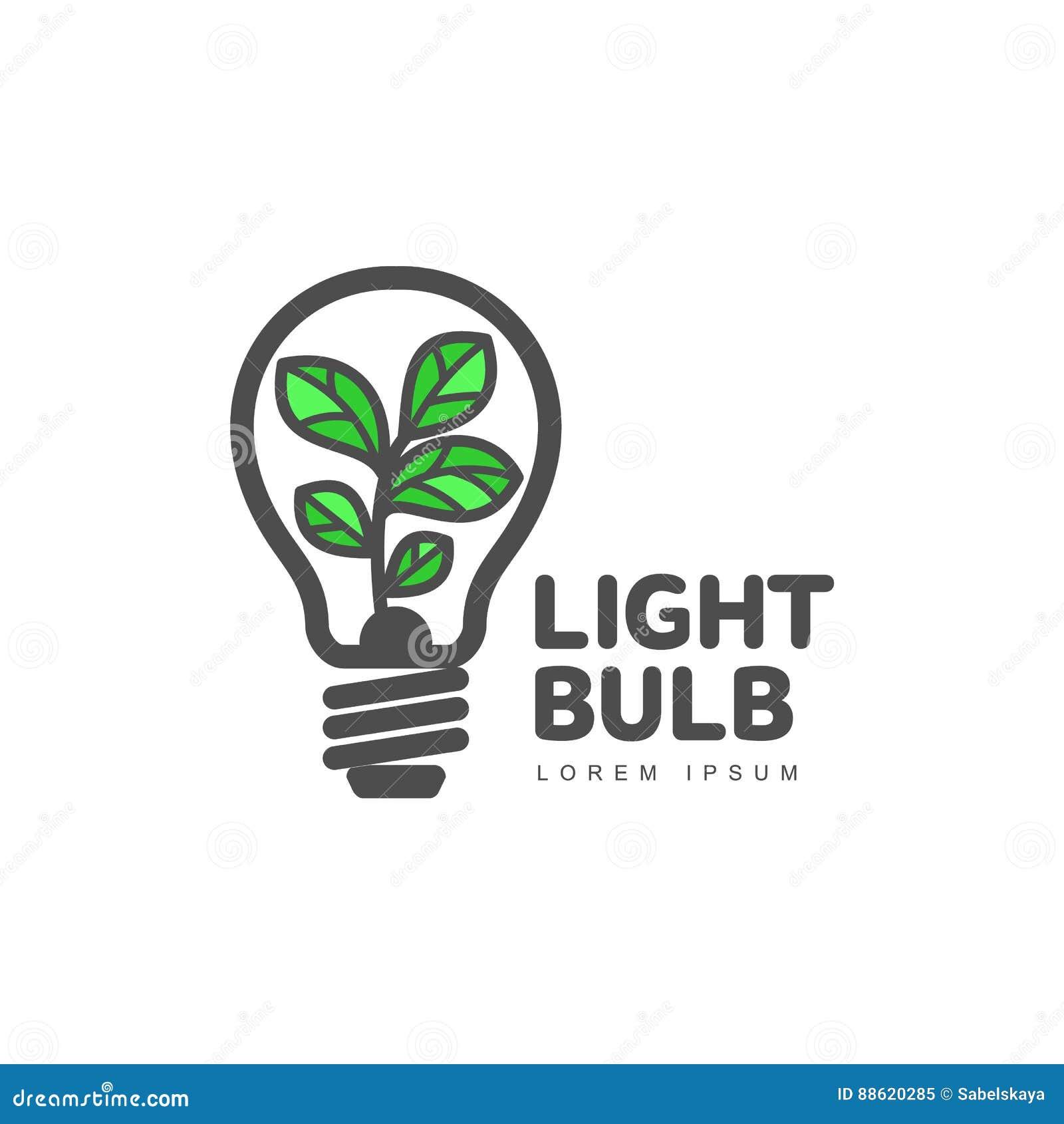 Logotipo con la planta que crece la bombilla interior, ecología, concepto del crecimiento