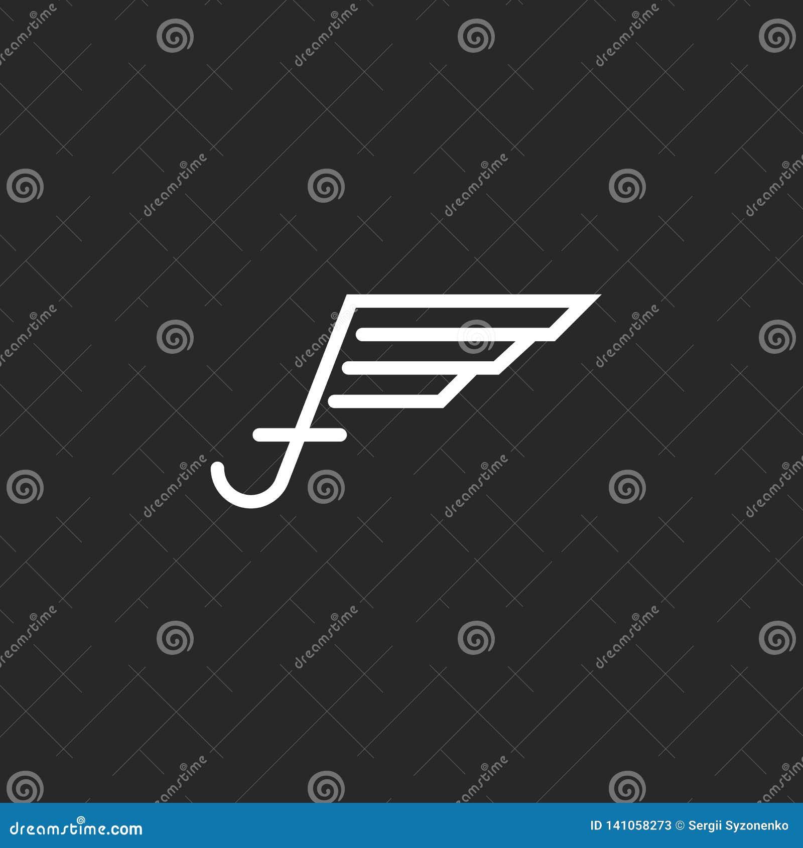 Logotipo con las alas, proyecto en las líneas finas, disposición blanco y negro de la letra mayúscula f del negocio del emblema d