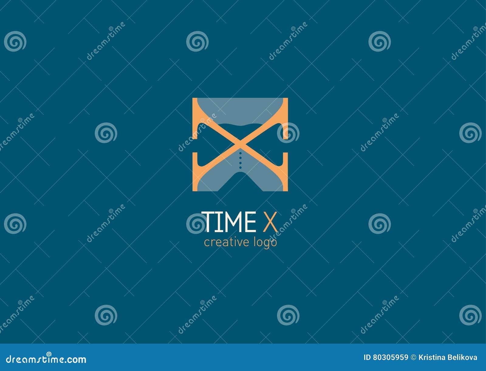 Logotipo Con Un Significado Doble La Letra X Y El Reloj De Arena