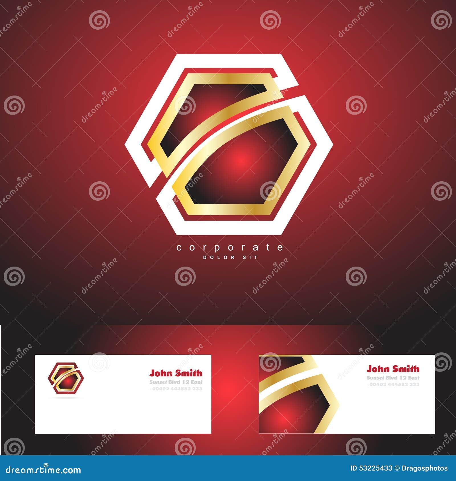 Logotipo corporativo rojo del oro de la insignia del hexágono