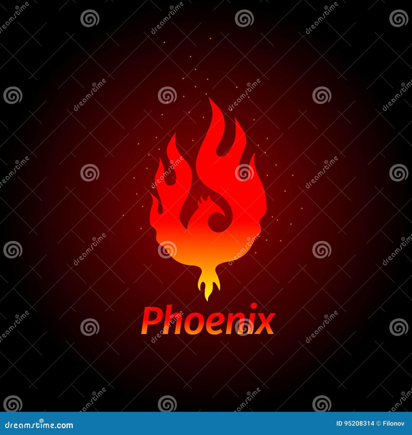 Logotipo creativo de la insignia de Phoenix del pájaro mitológico Fenix, un pájaro único - una llama llevada de las cenizas Silue