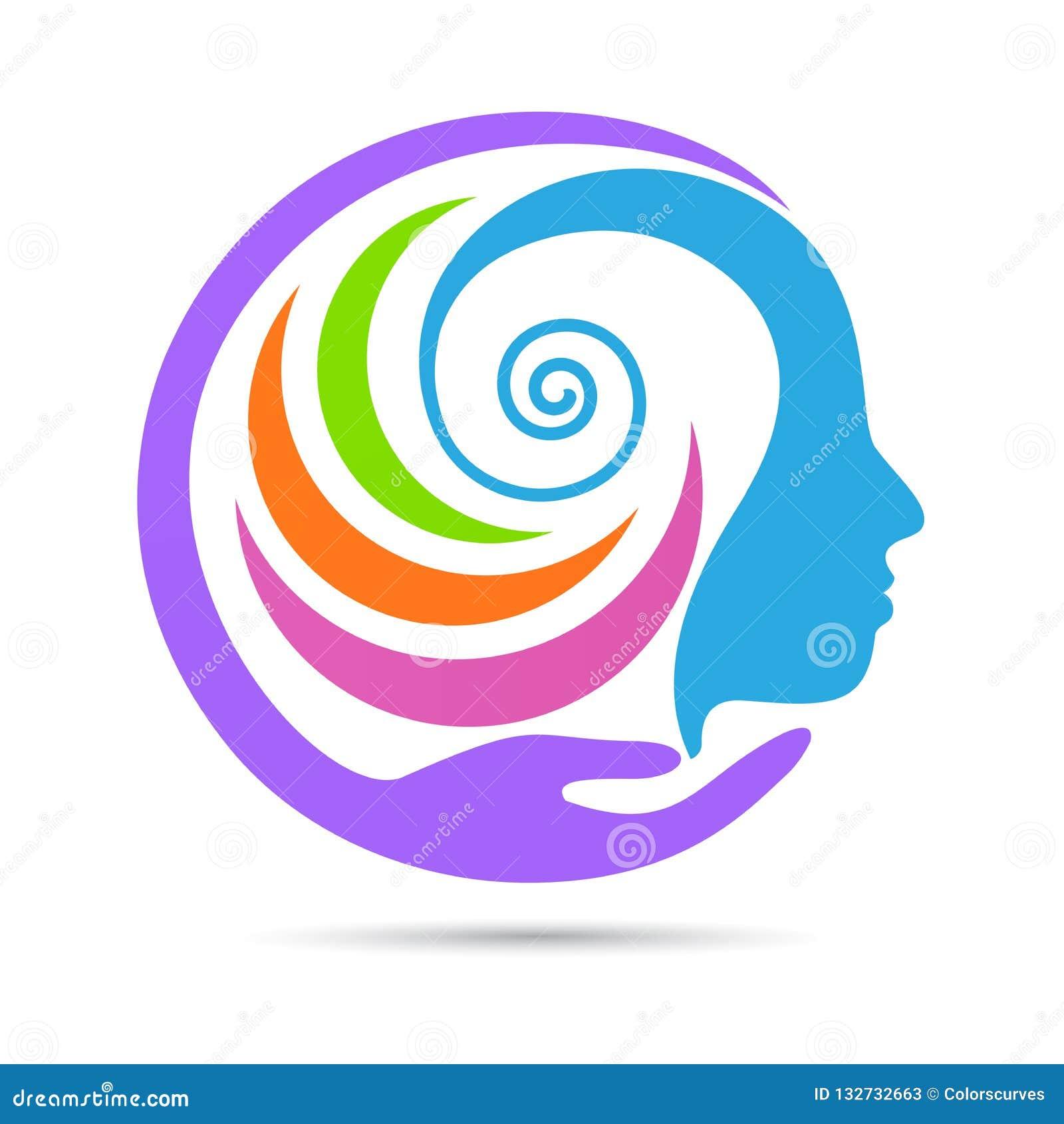 Logotipo creativo humano del cuidado de la mente