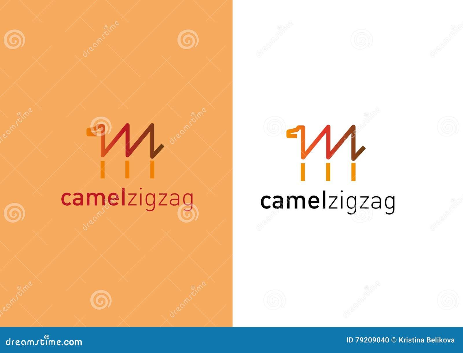 Logotipo creativo que se convierte Camello bajo la forma de zigzag