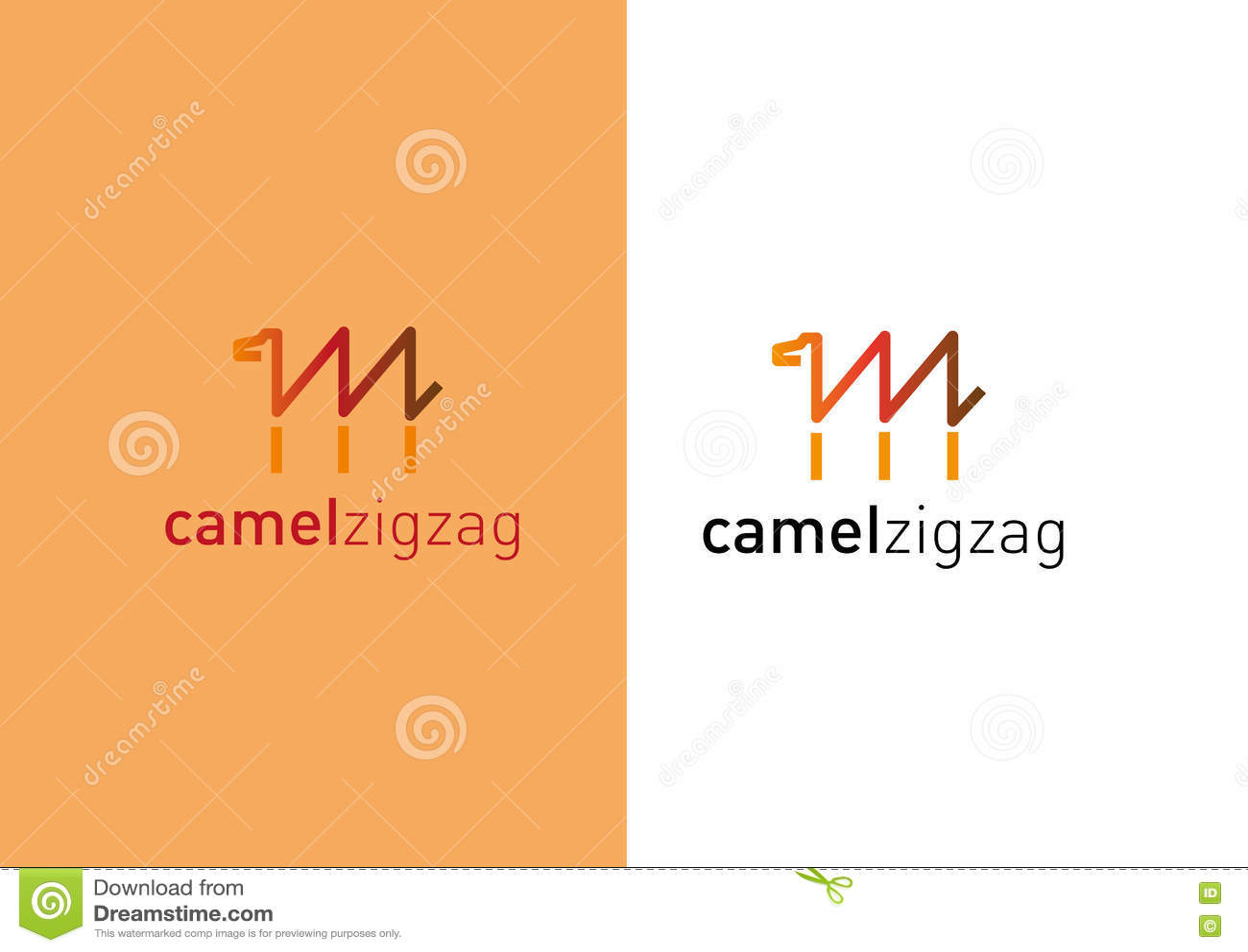 Logotipo criativo tornando-se Camelo sob a forma de um ziguezague