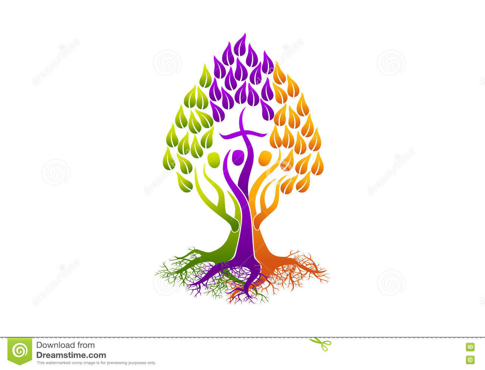 Logotipo cristiano de la gente, árbol del Espíritu Santo del icono de la raíz, diseño del símbolo del vector de la iglesia de la
