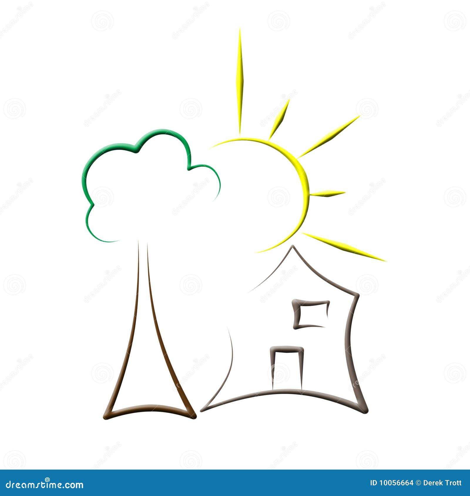 Logotipo da casa de árvore de Sun