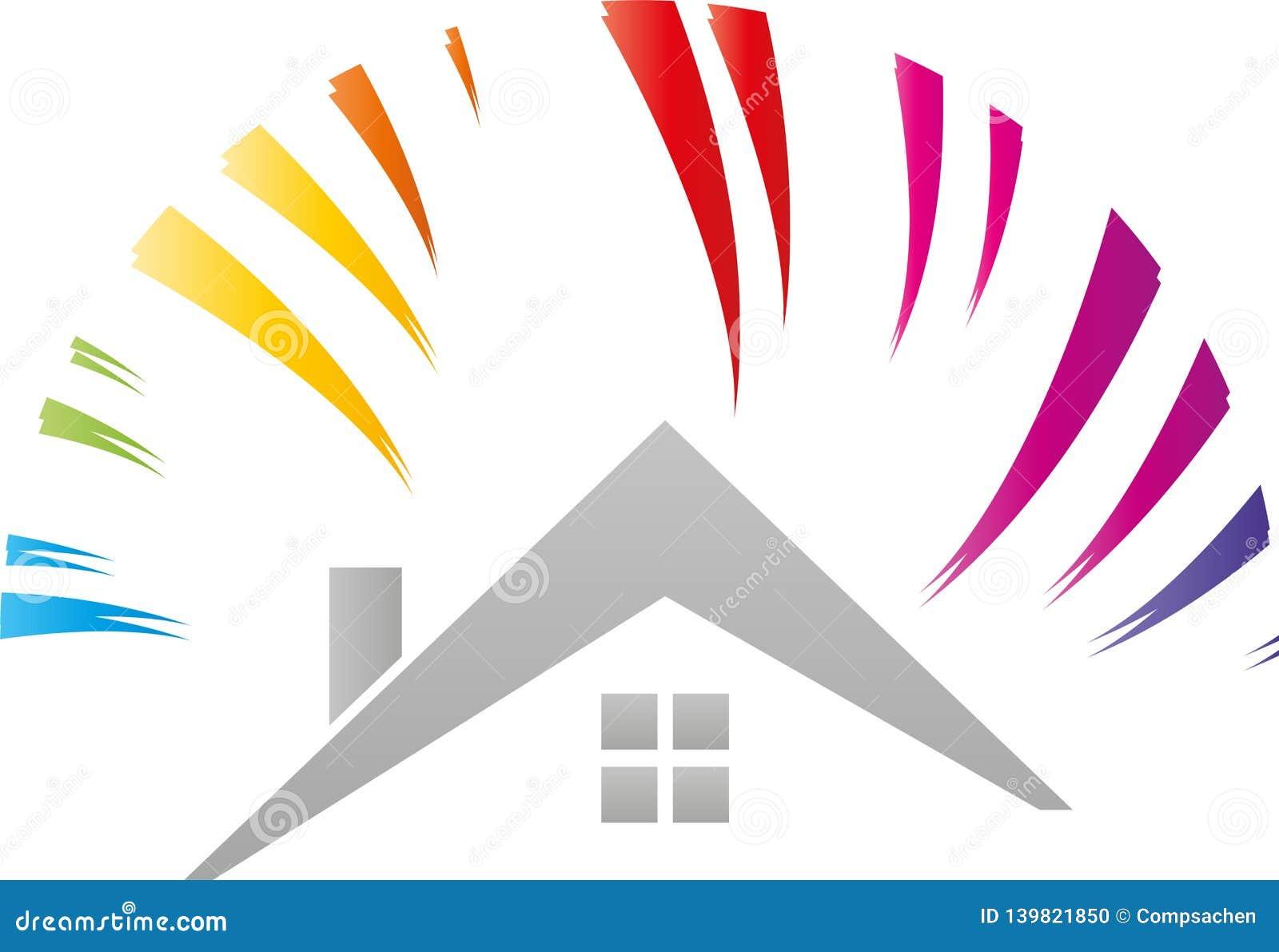 Logotipo da casa e do arco-íris, do sol, do pintor e do artesão