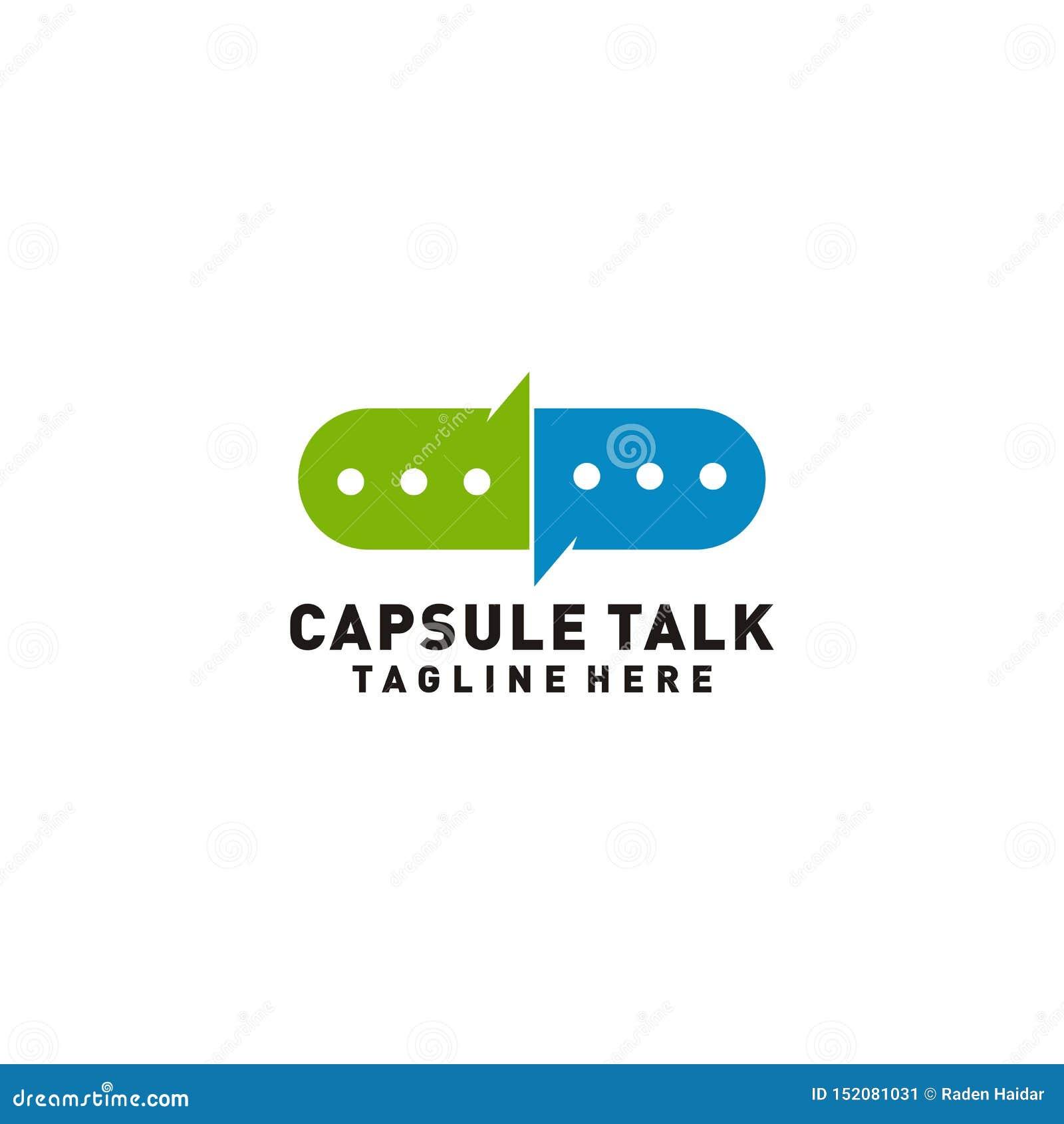 Logotipo da conversa da cápsula médico ou ilustração do consultante médico