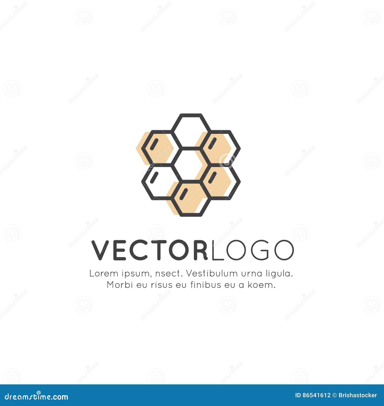 Logotipo da exploração agrícola, do Honey Product, da loja ou do mercado da abelha