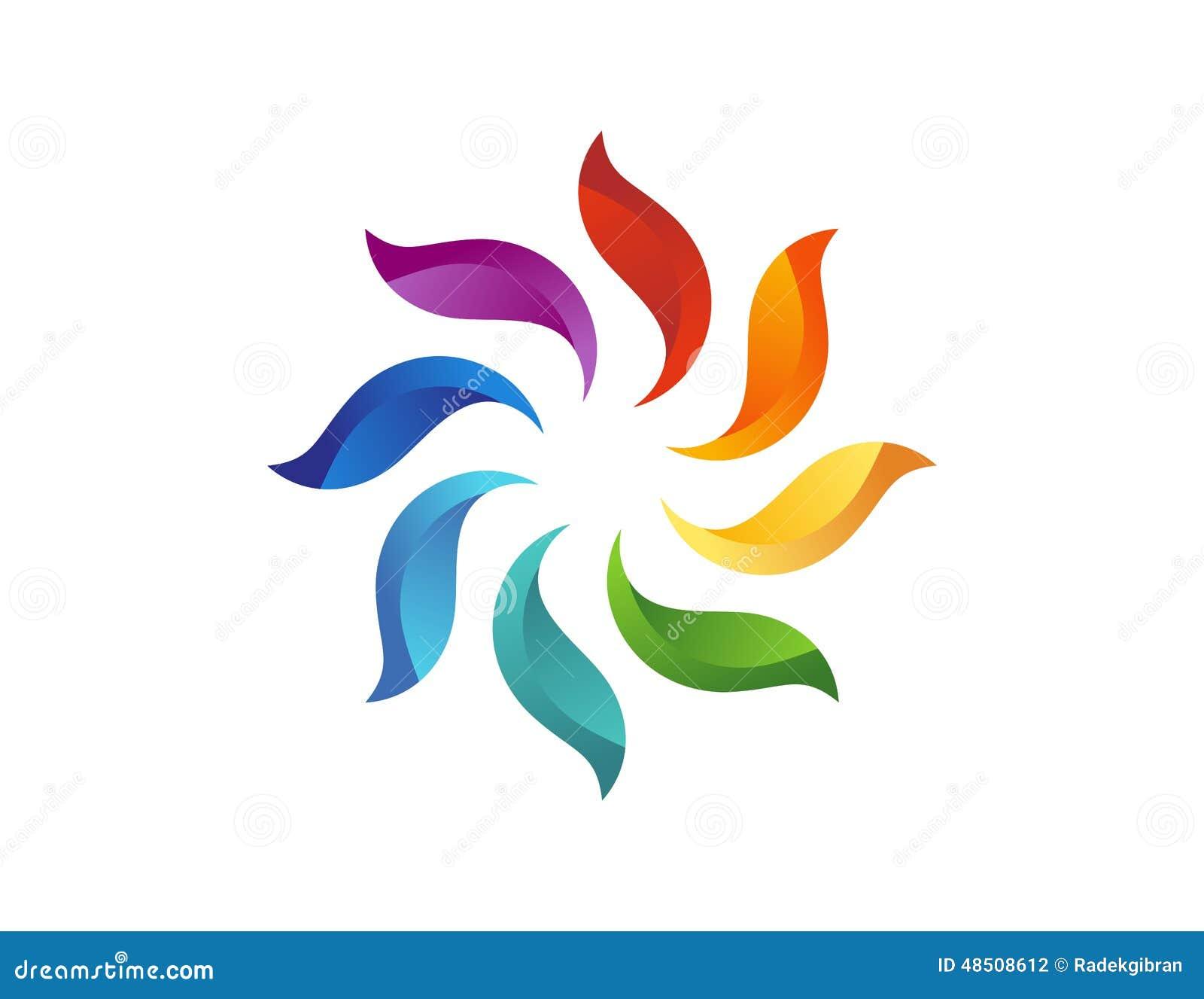 Logotipo da flor de Sun, ícone natural floral abstrato, símbolo do elemento do círculo