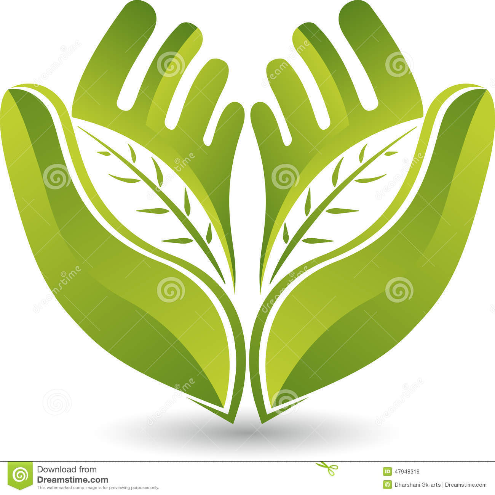 Logotipo da folha das mãos