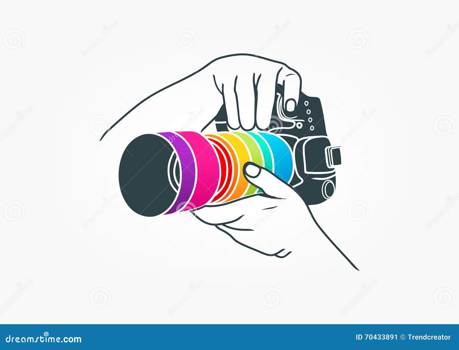 Logotipo da fotografia, projeto de conceito da câmera