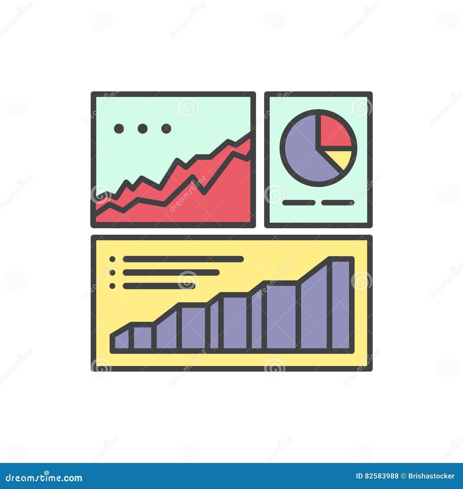 Logotipo da informação da analítica da Web e da estatística do Web site do desenvolvimento com Visualisation dos dados simples co