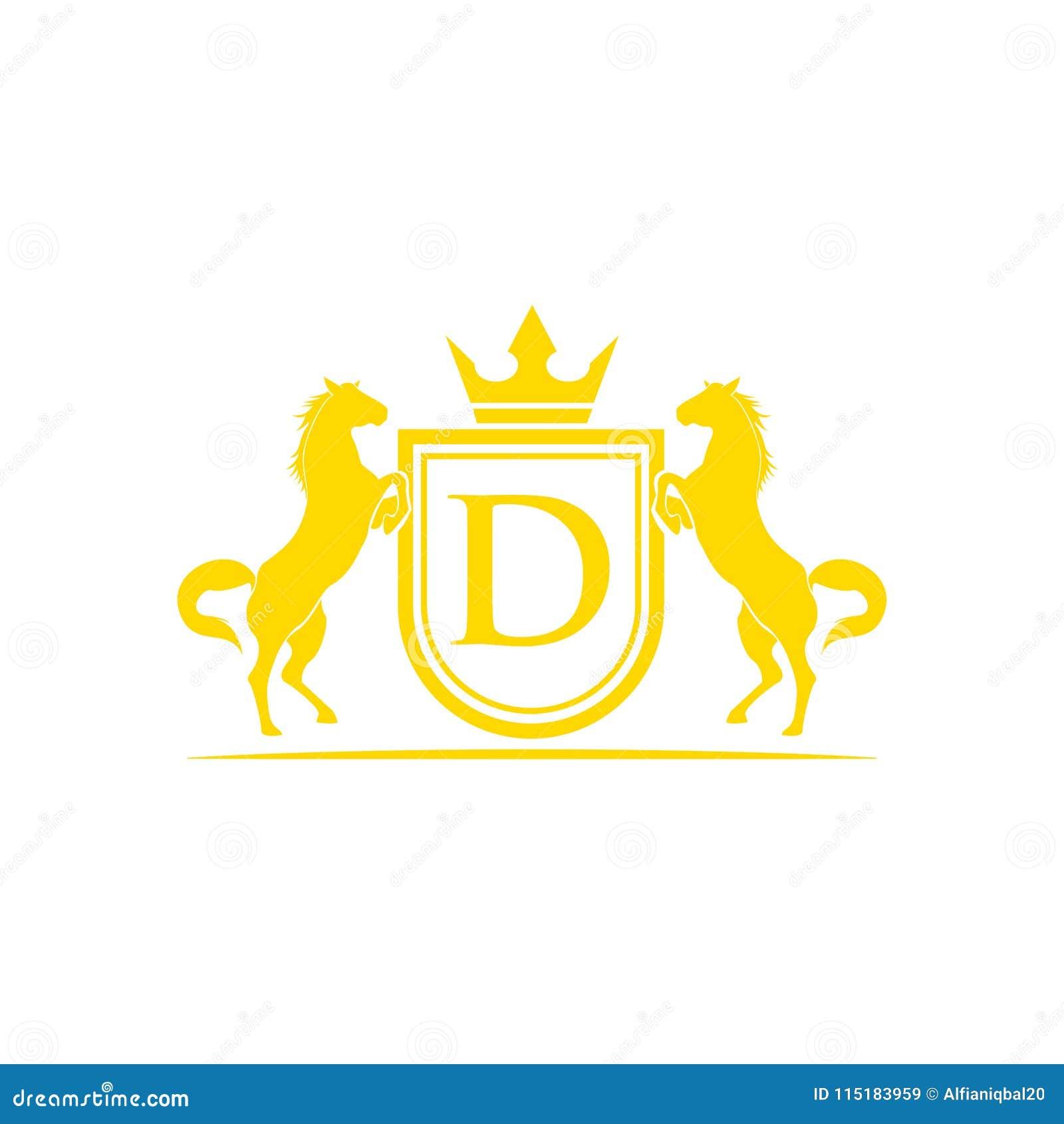 Logotipo da letra inicial D Vetor do projeto do logotipo do tipo do cavalo Crista dourada retro com protetor e cavalos Molde herá