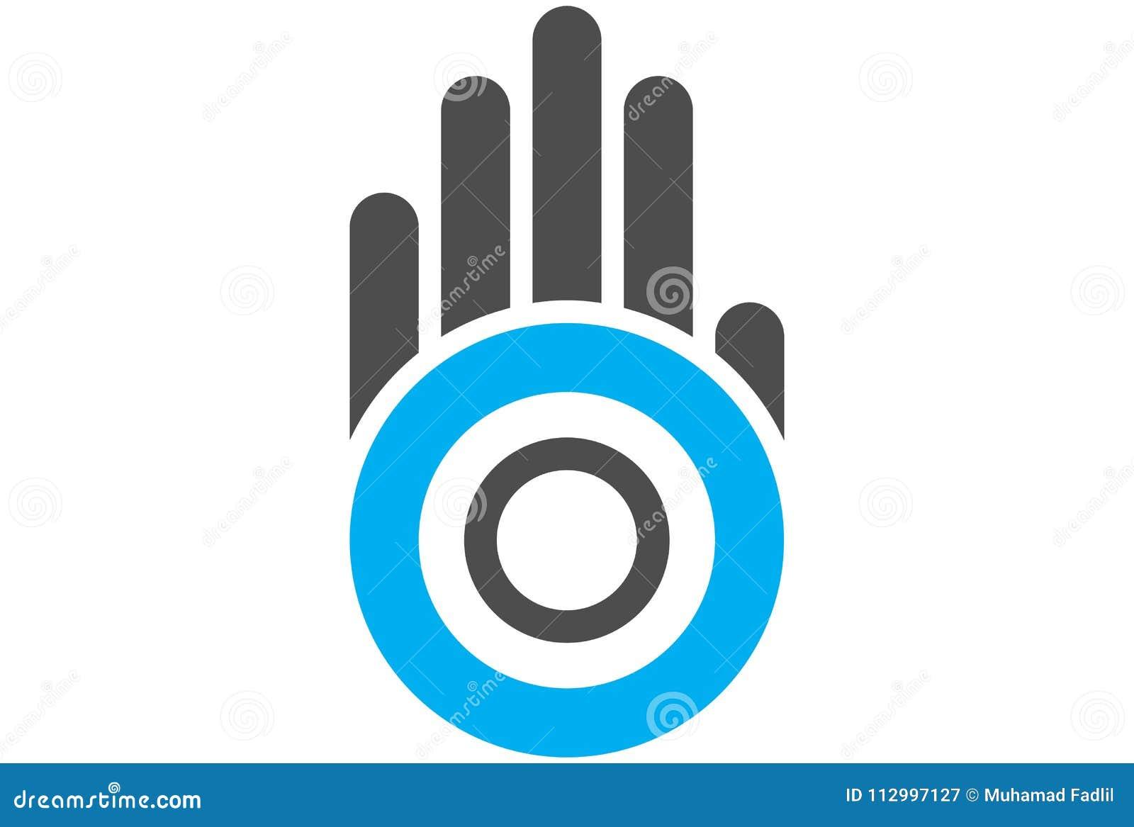 Logotipo da letra o do círculo da mão