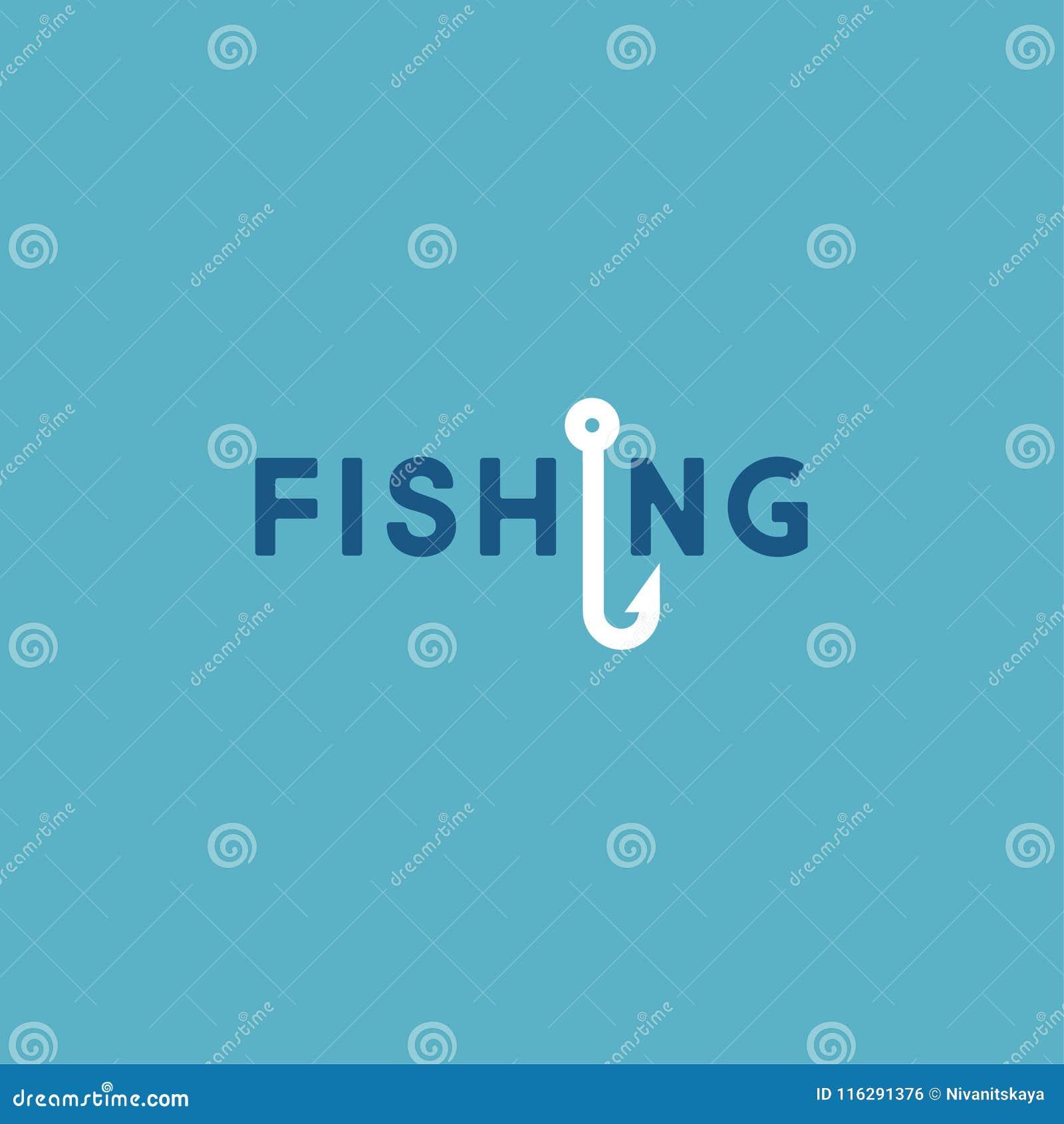Logotipo da pesca Logotipo da flauta Letras e um gancho de pesca
