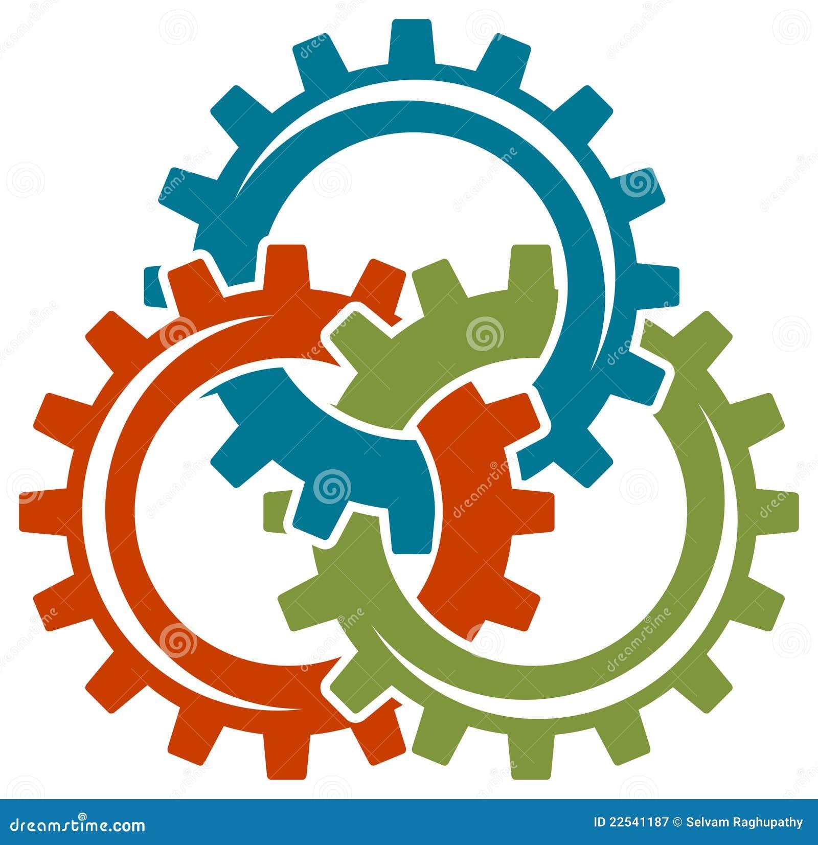 Logotipo das rodas de engrenagem